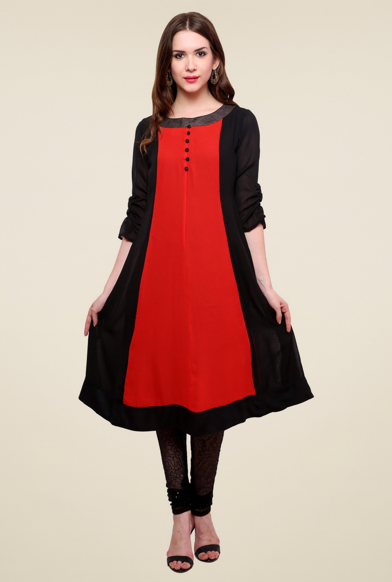 Pannkh Black & Red Round Neck Kurti