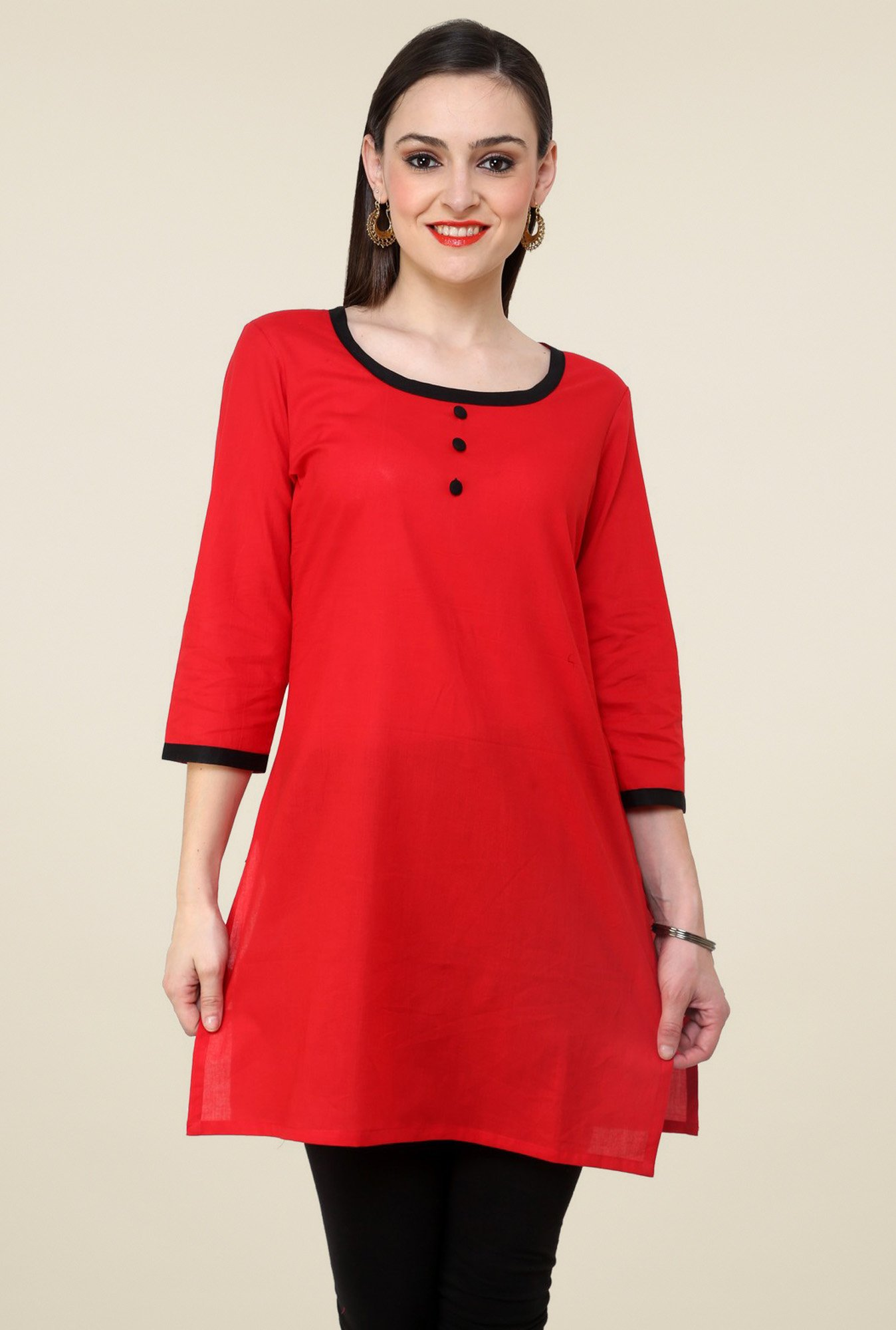 Pannkh Red 3/4th Sleeves Kurti