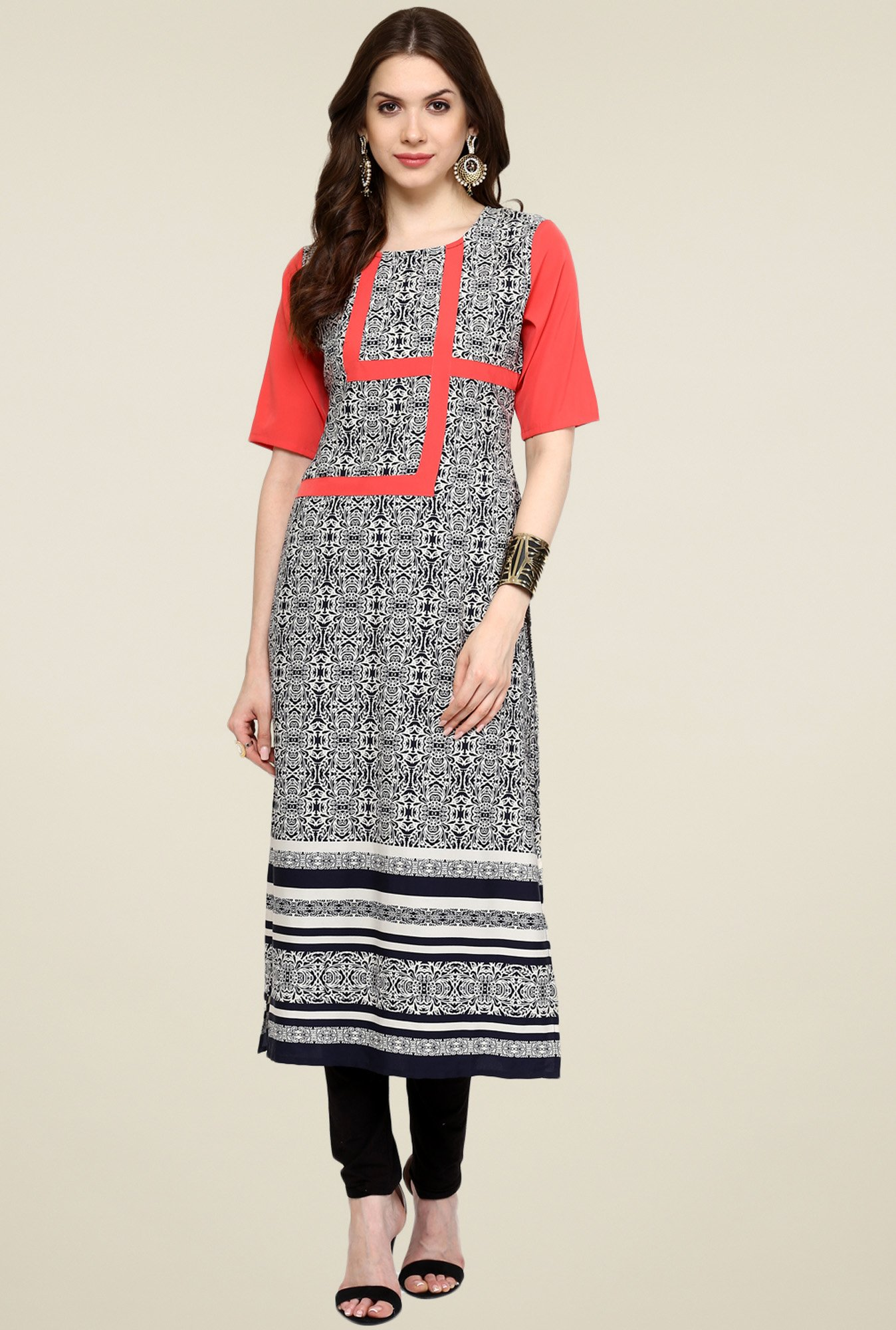 Pannkh Coral & Black Printed Elbow Sleeves Kurti