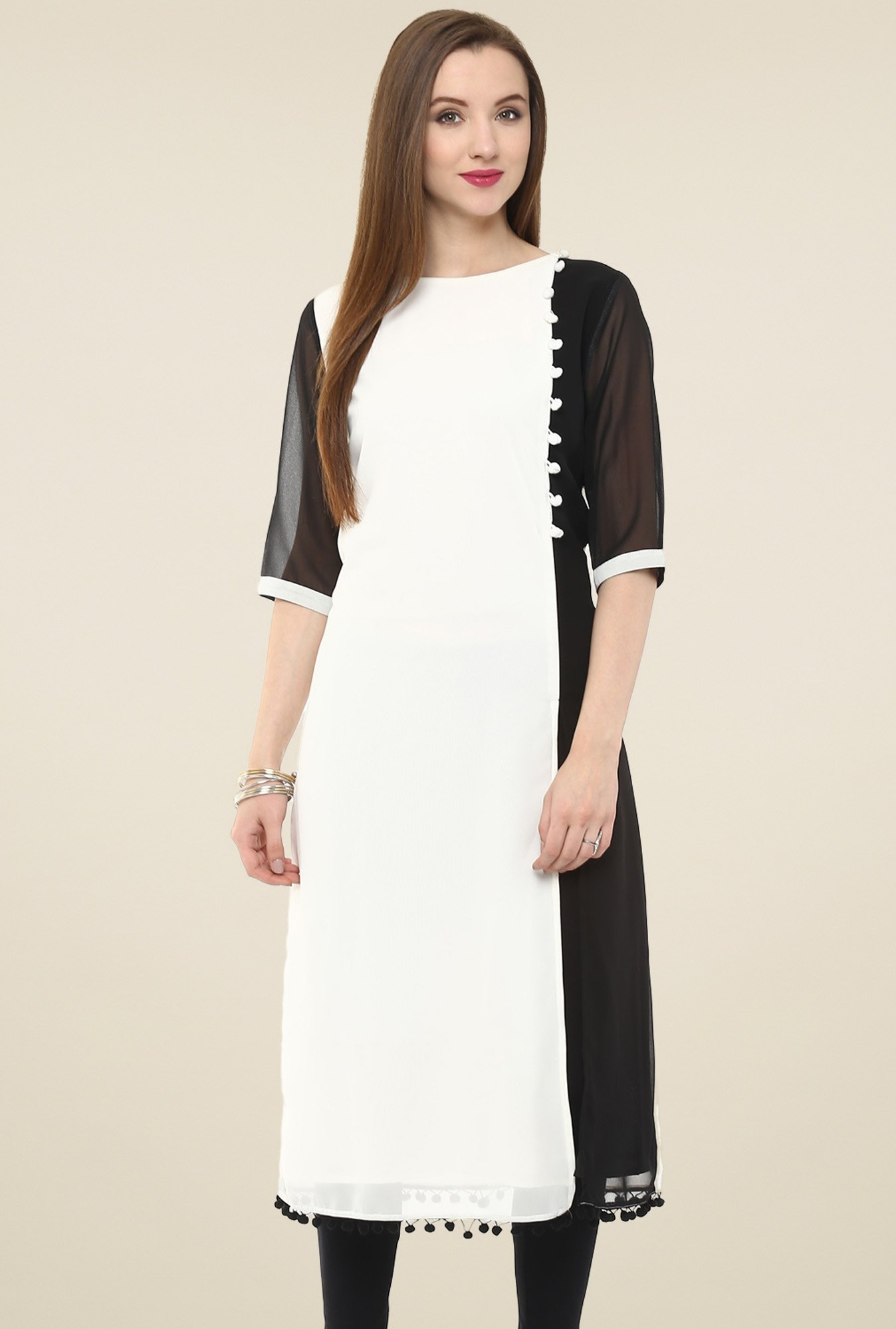 Pannkh Black & White Regular Fit Kurti