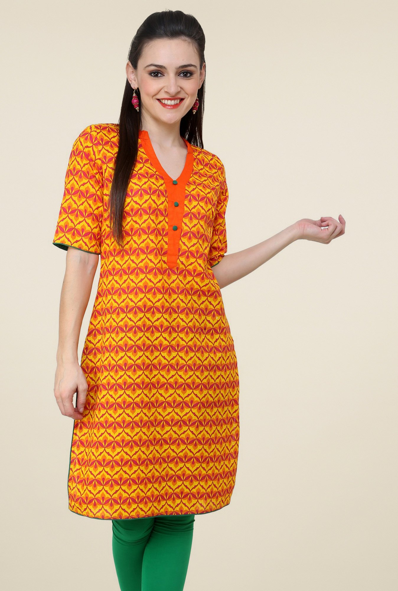 Pannkh Yellow Elbow Sleeves Kurti
