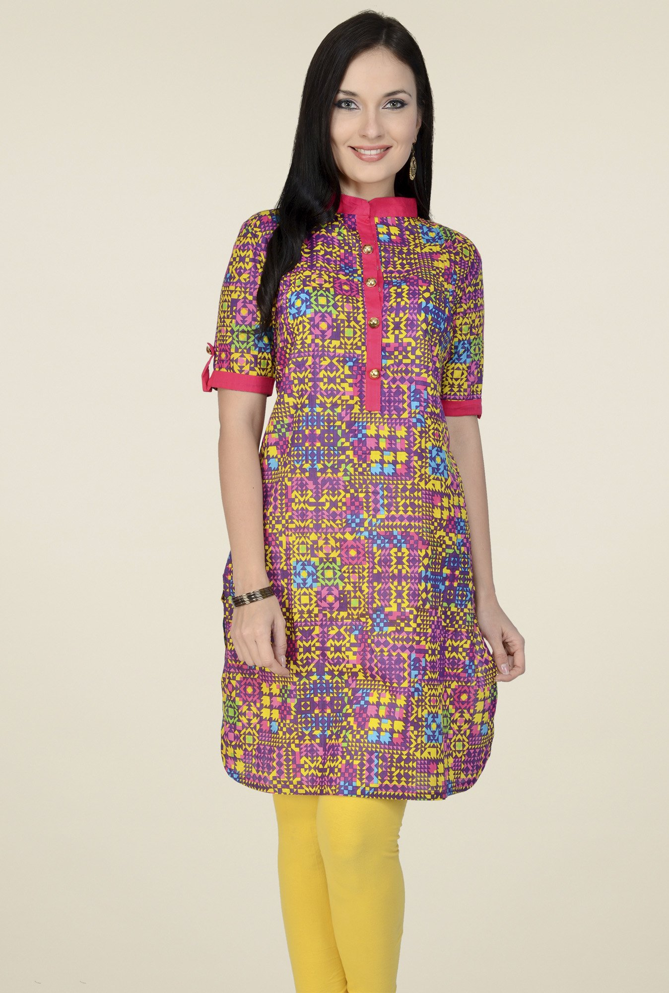 Pannkh Multicolor Printed Regular Fit Kurti