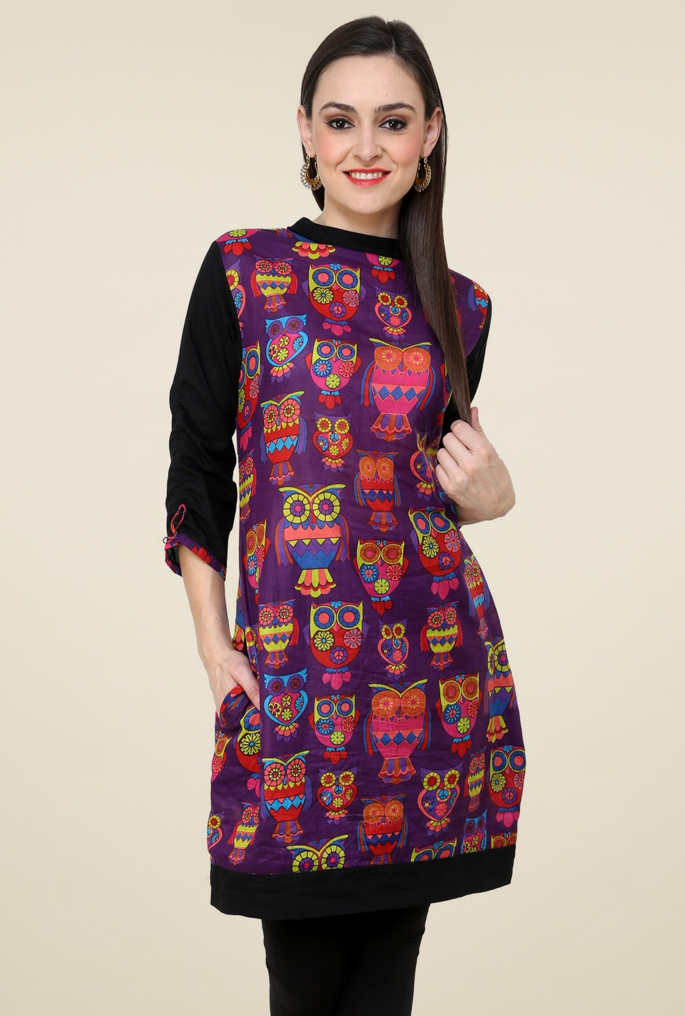 Pannkh Purple Band Neck Kurti