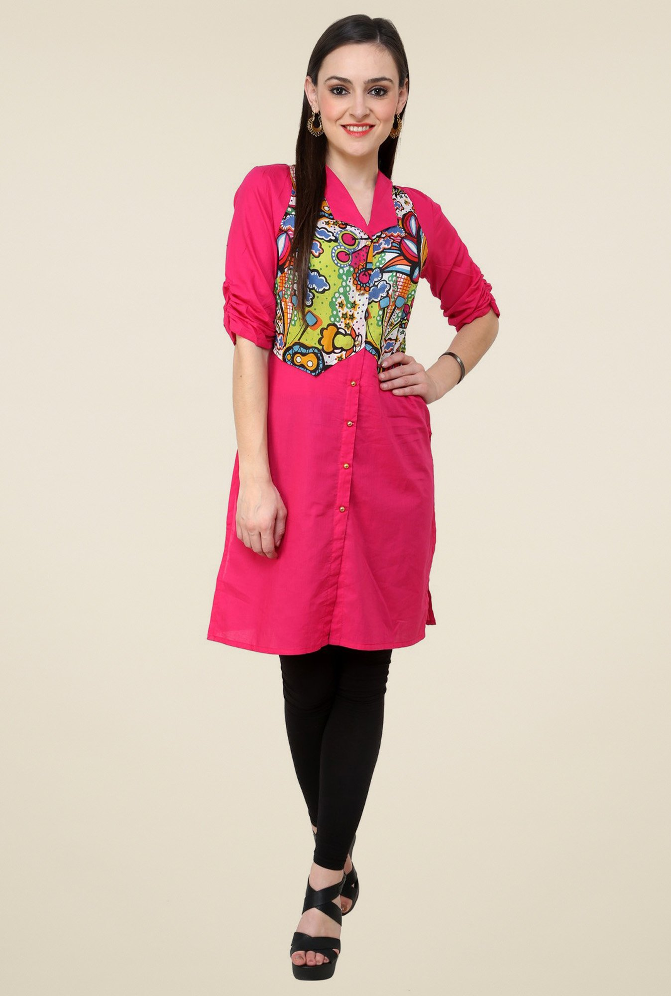 Pannkh Pink Elbow Sleeves Regular Fit Kurti