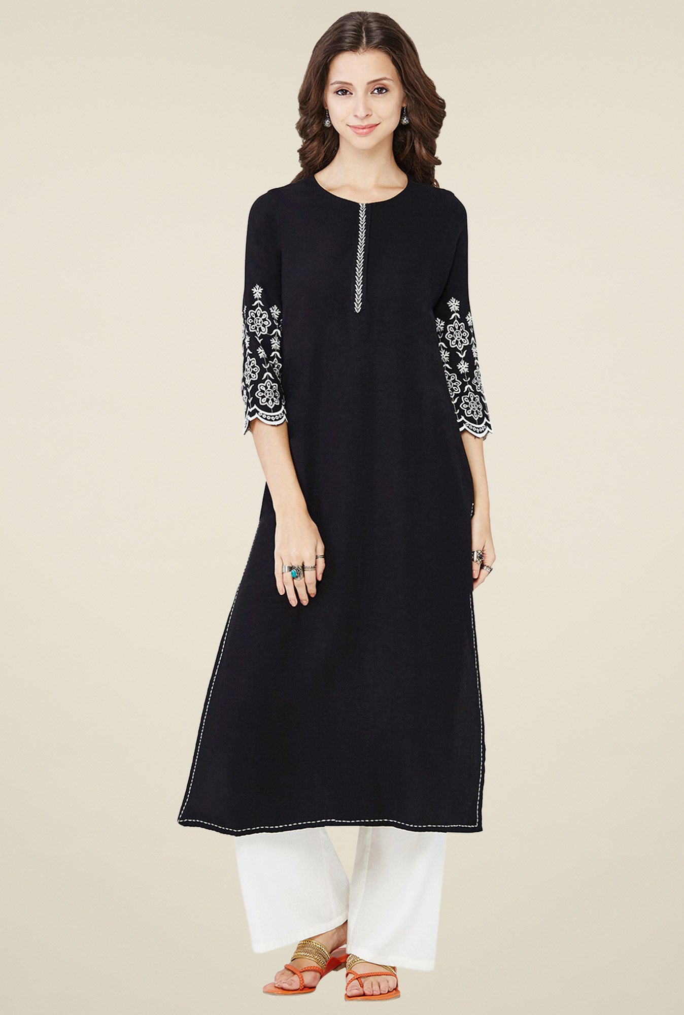 Global Desi Black Round Neck Kurta