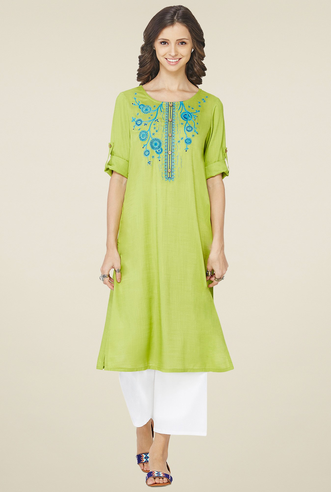 Global Desi Lime Green Embroidered Kurta