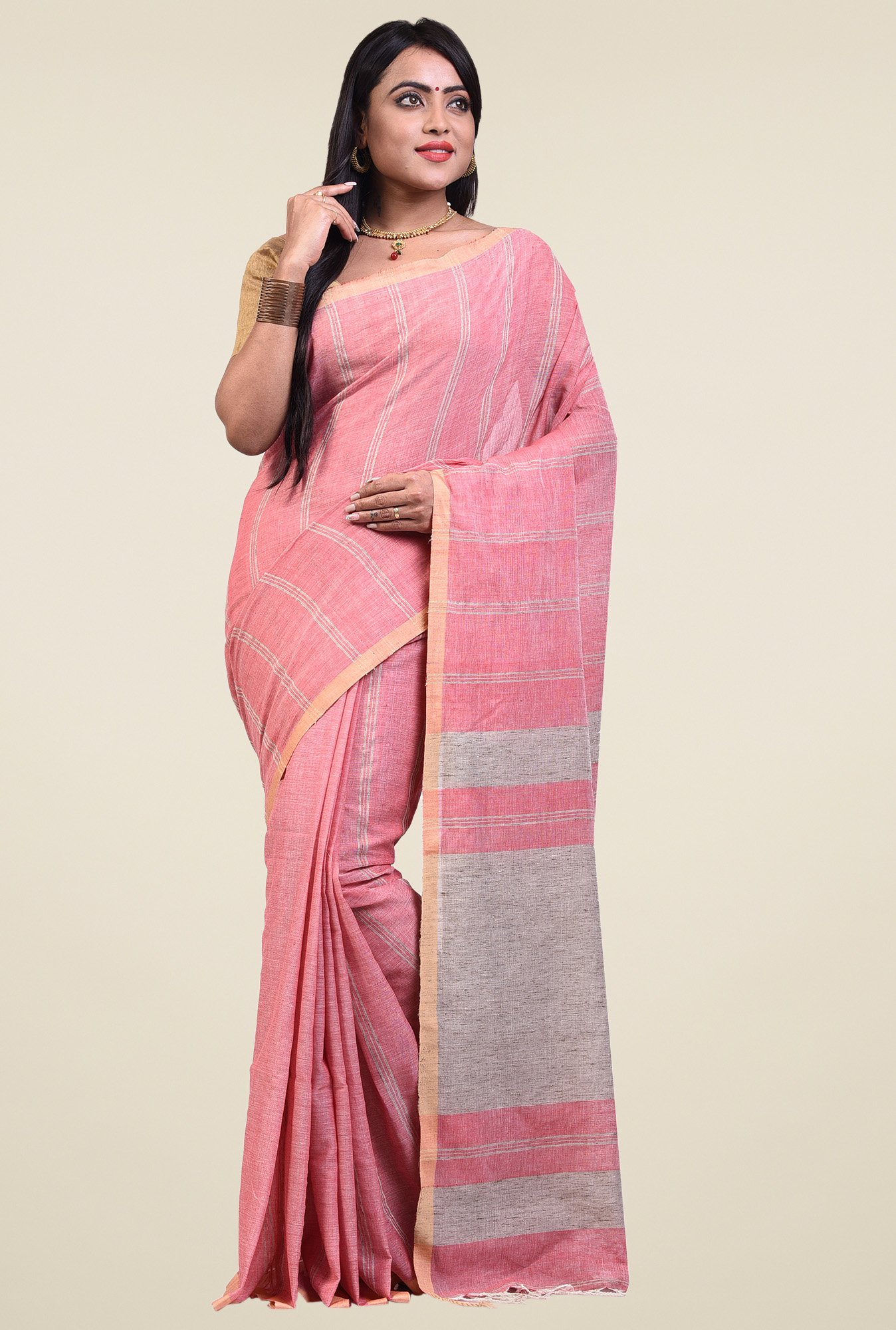 Bengal Handloom Pink Embroidered Saree