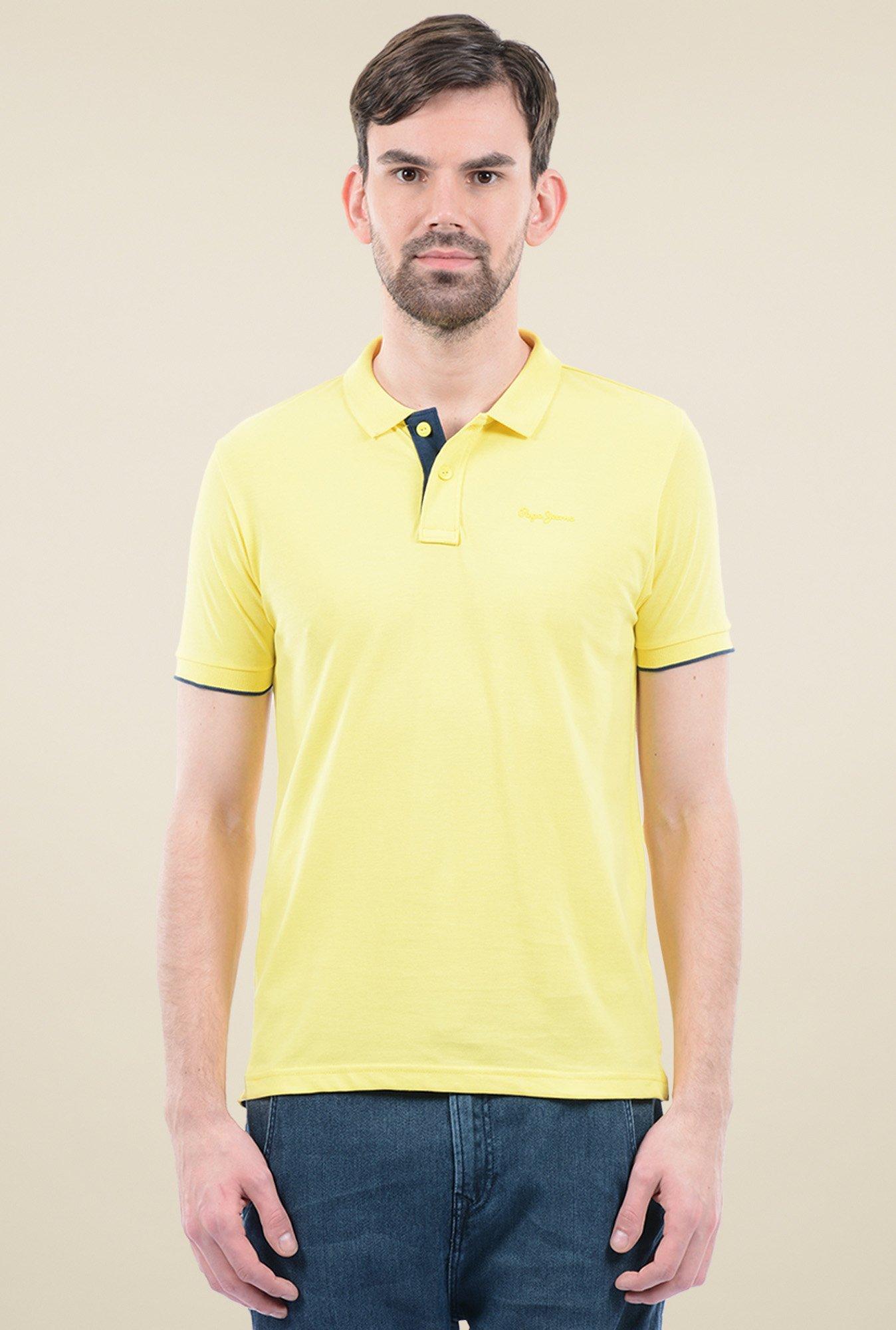 35516b9c8 Buy Pepe Jeans Yellow Cotton Polo T-Shirt for Men Online @ Tata CLiQ