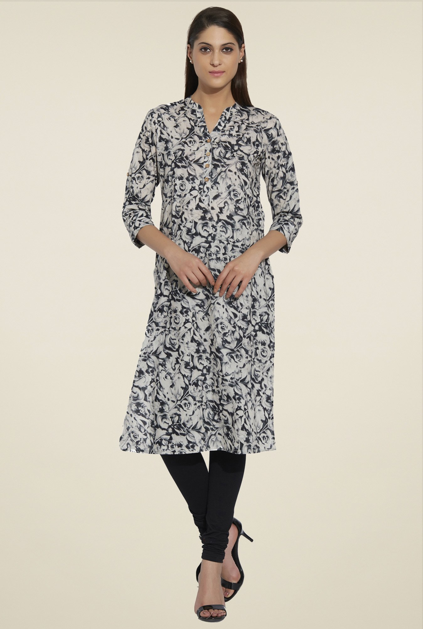 Globus Off-White & Black Floral Kurta