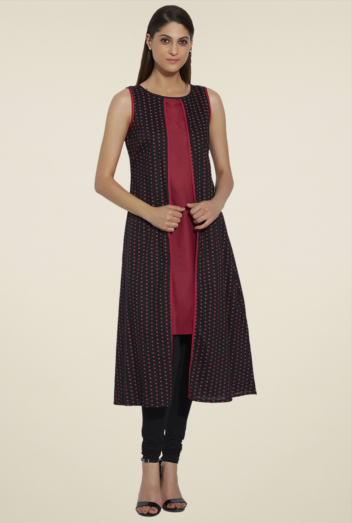 Globus Black & Red Sleeveless Cotton Kurta