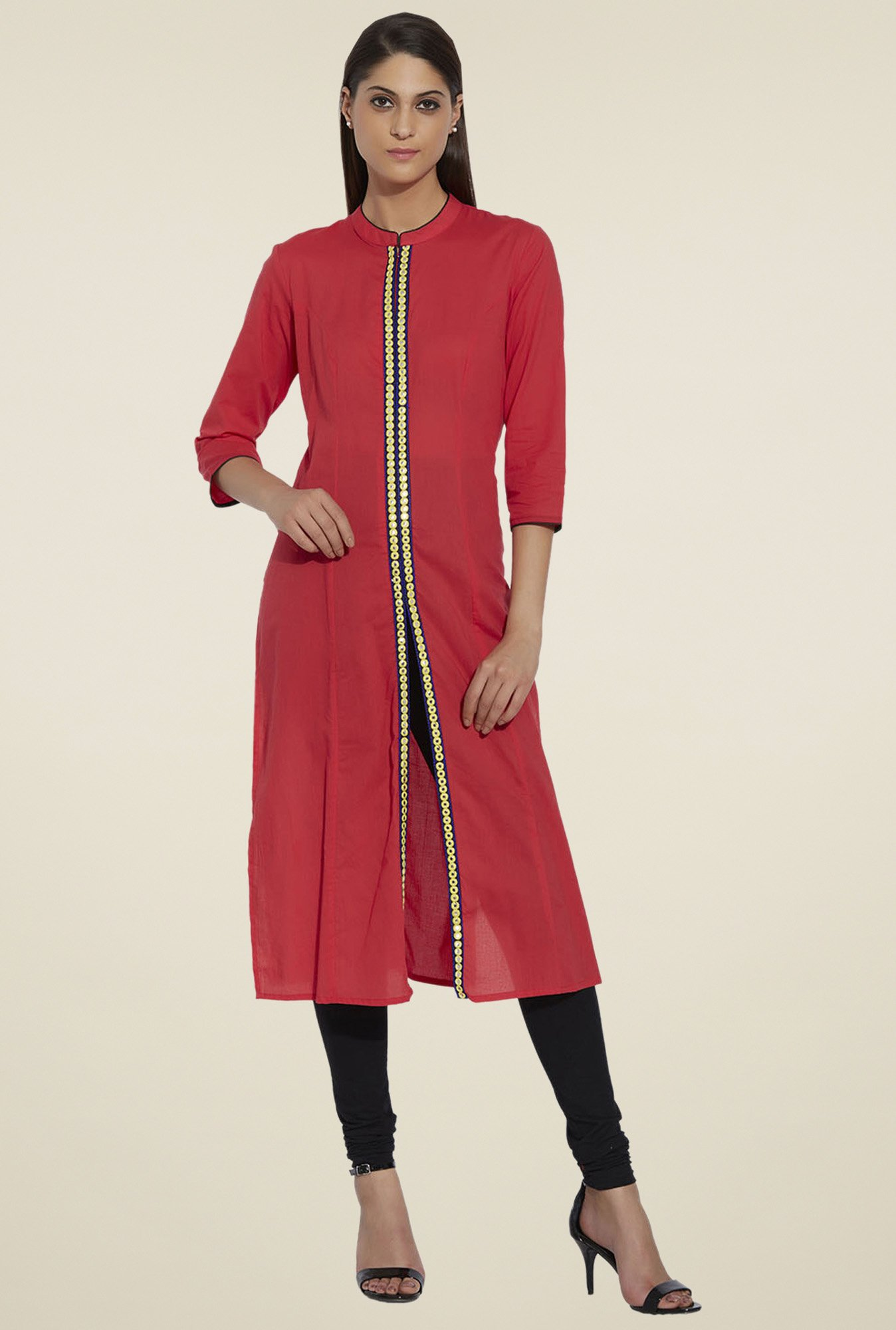 Globus Red 3/4th Sleeves Regular Fit Kurta