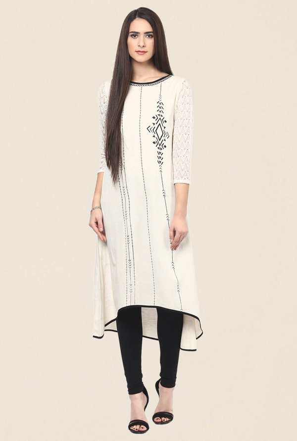 Fusion Beats Beige Embroidered Kurta