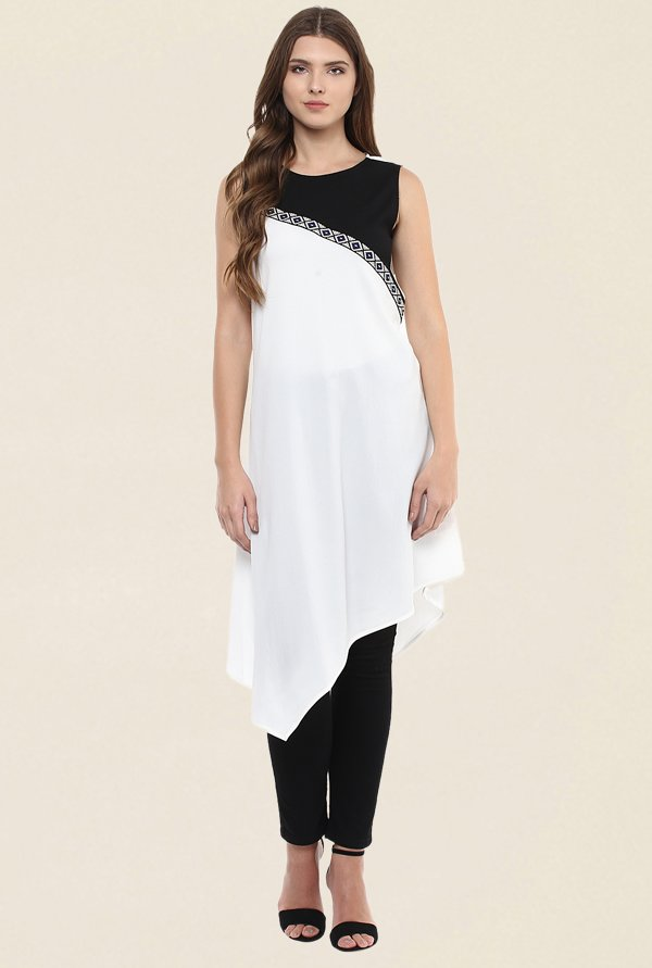 109 F White Embroidered Kurti