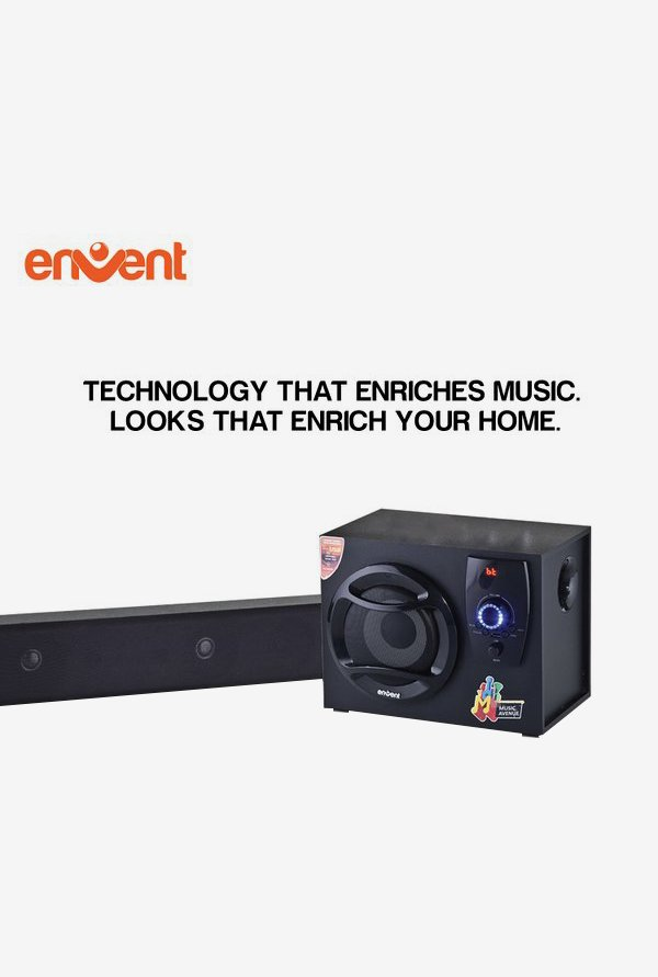 Envent Horizon704-BT Truewood Sound Bar with Woofer (Black)