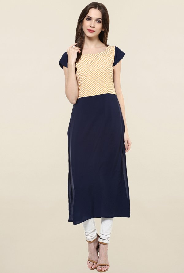 Ziyaa Navy & Yellow Printed Crepe Kurta