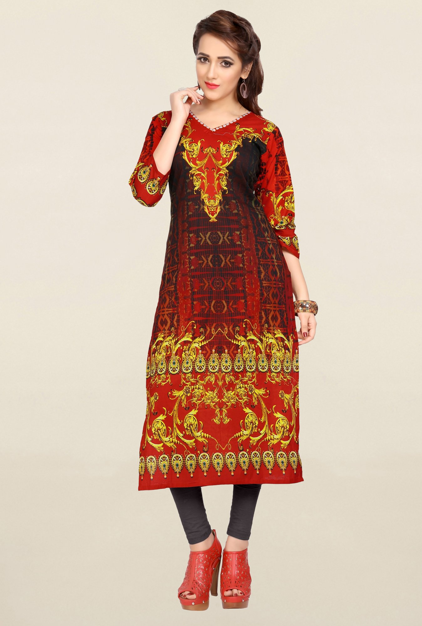Ziyaa Red & Black Printed Cotton Kurta