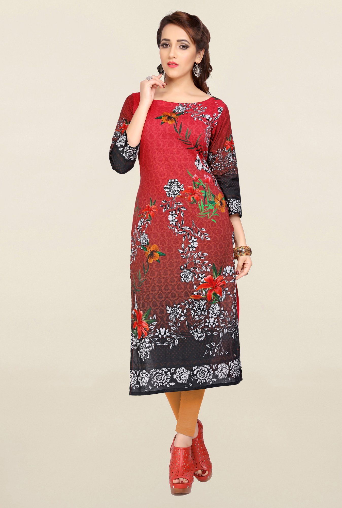 Ziyaa Red & Brown Printed Cotton Kurta