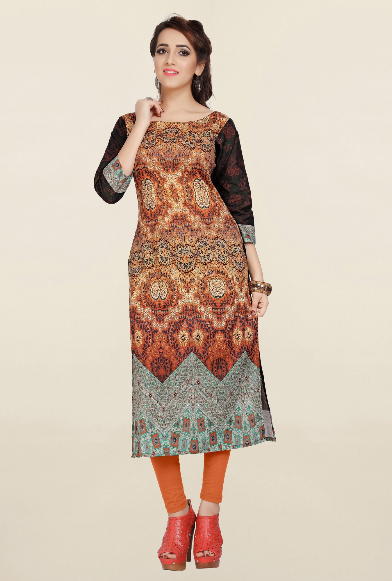 Ziyaa Beige Printed Cotton Kurta