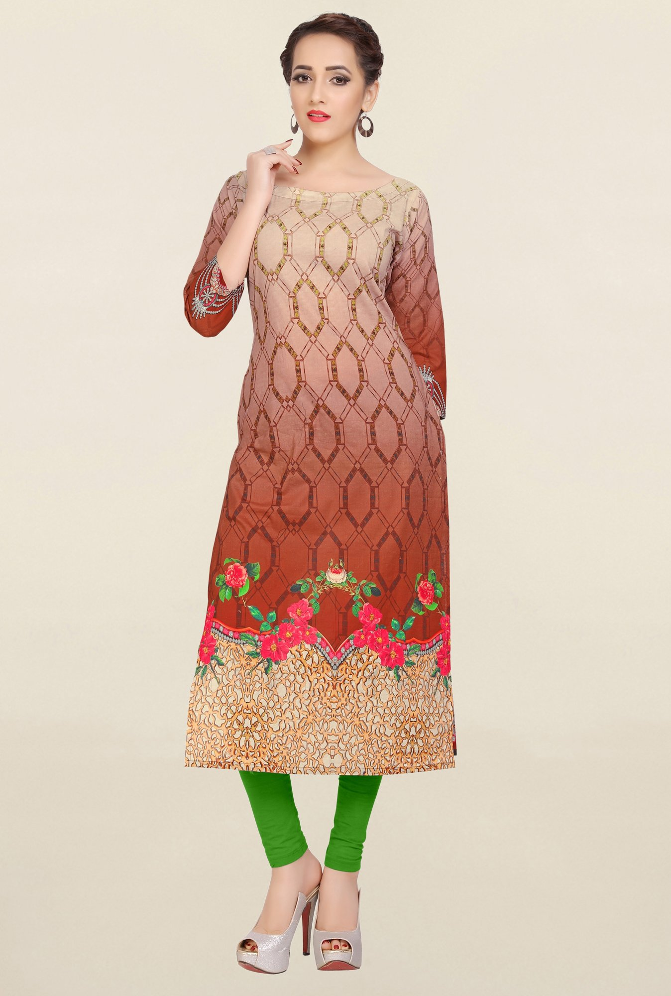 Ziyaa Brown & Beige Printed Cotton Kurta