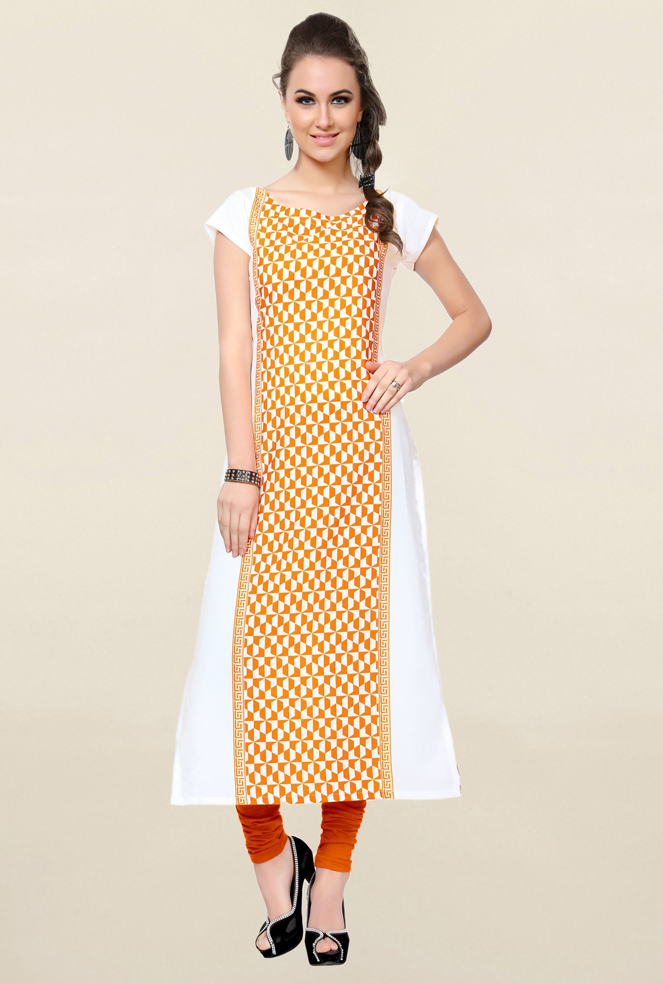 Ziyaa Orange & White Printed Crepe Kurta