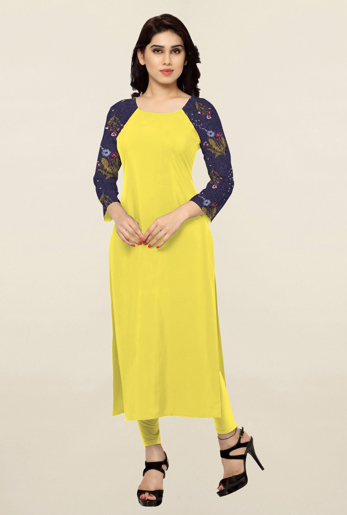 Ziyaa Yellow Solid Crepe Kurta