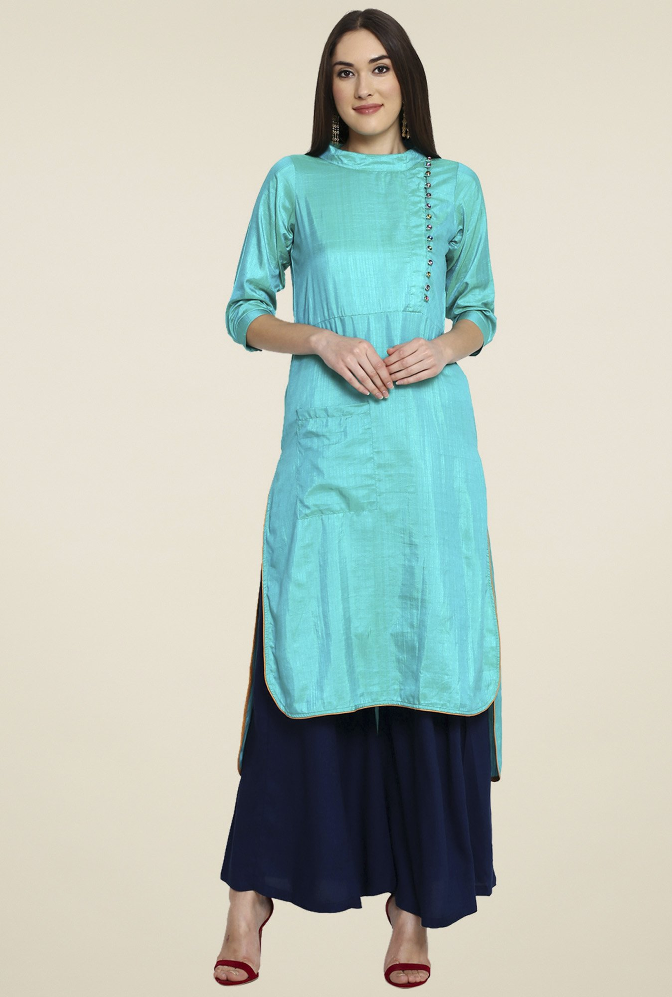 Aujjessa Turquoise 3/4th Sleeves Palazzo Set