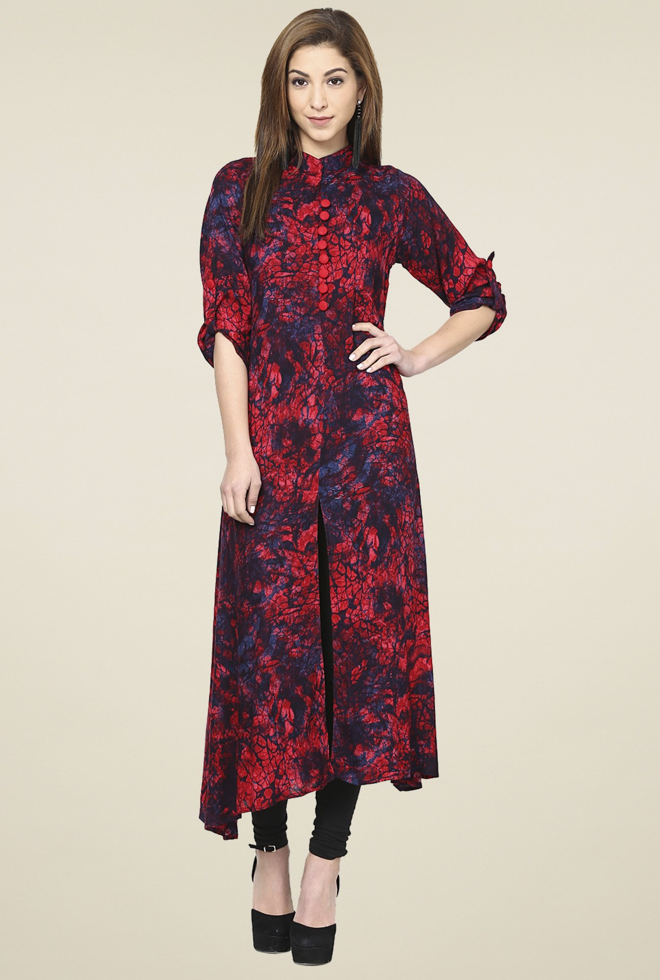 Aujjessa Red & Navy 3/4th Sleeves Kurta