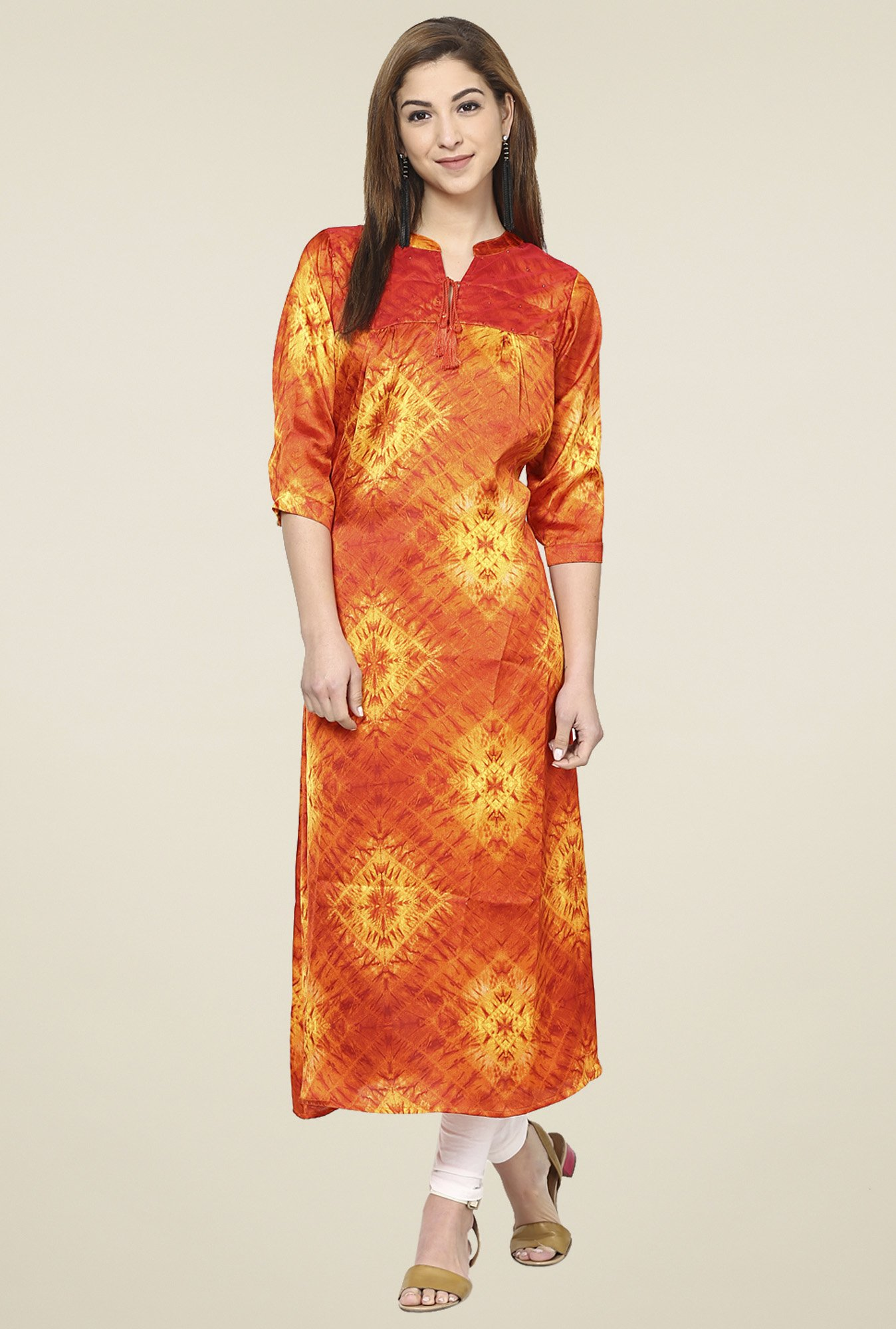 Aujjessa Orange Regular Fit Kurta