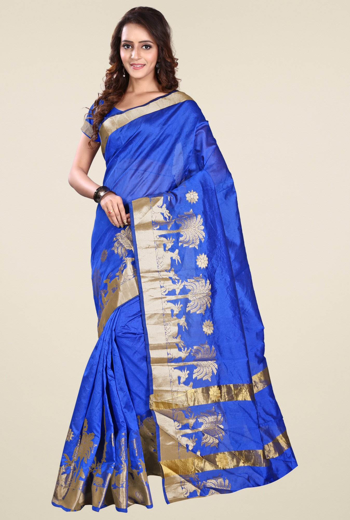 Triveni Blue Printed Saree