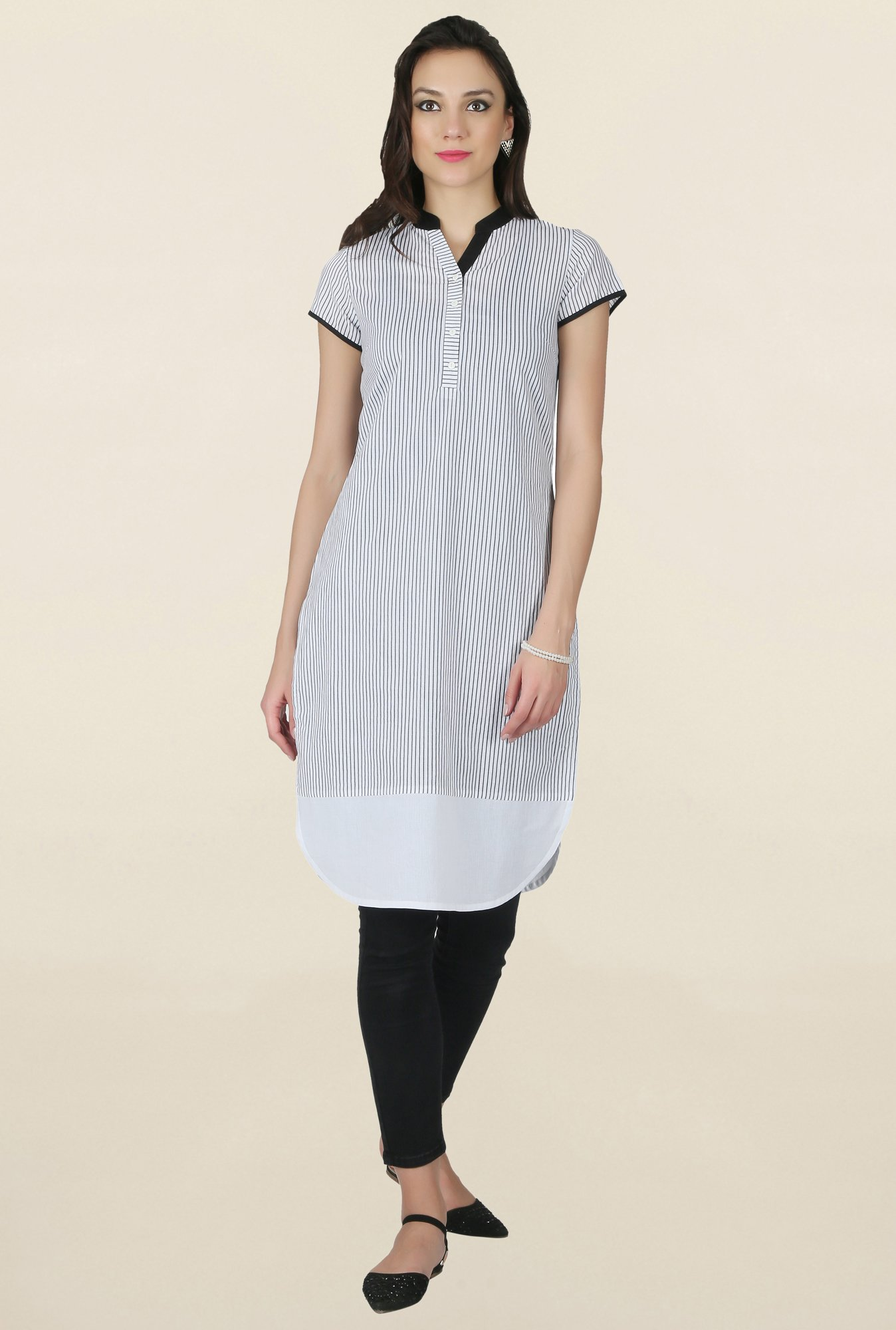 Juniper White Striped Kurta