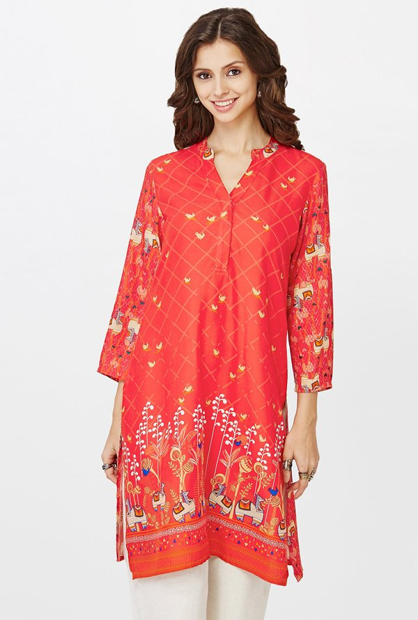 Global Desi Coral Printed Kurti
