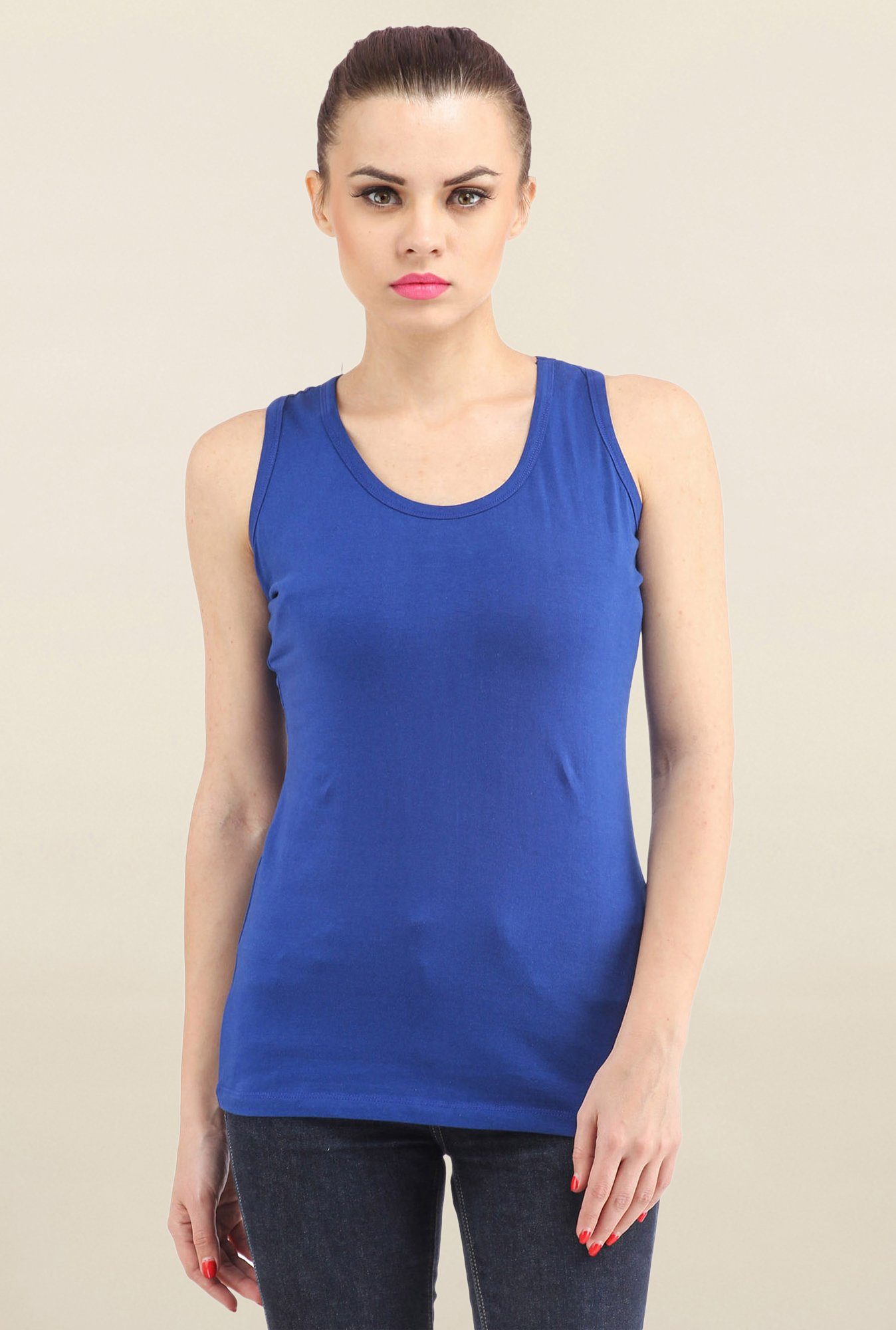 e58e8d861216bf Buy Cation Blue Solid Tank Top for Women Online   Tata CLiQ