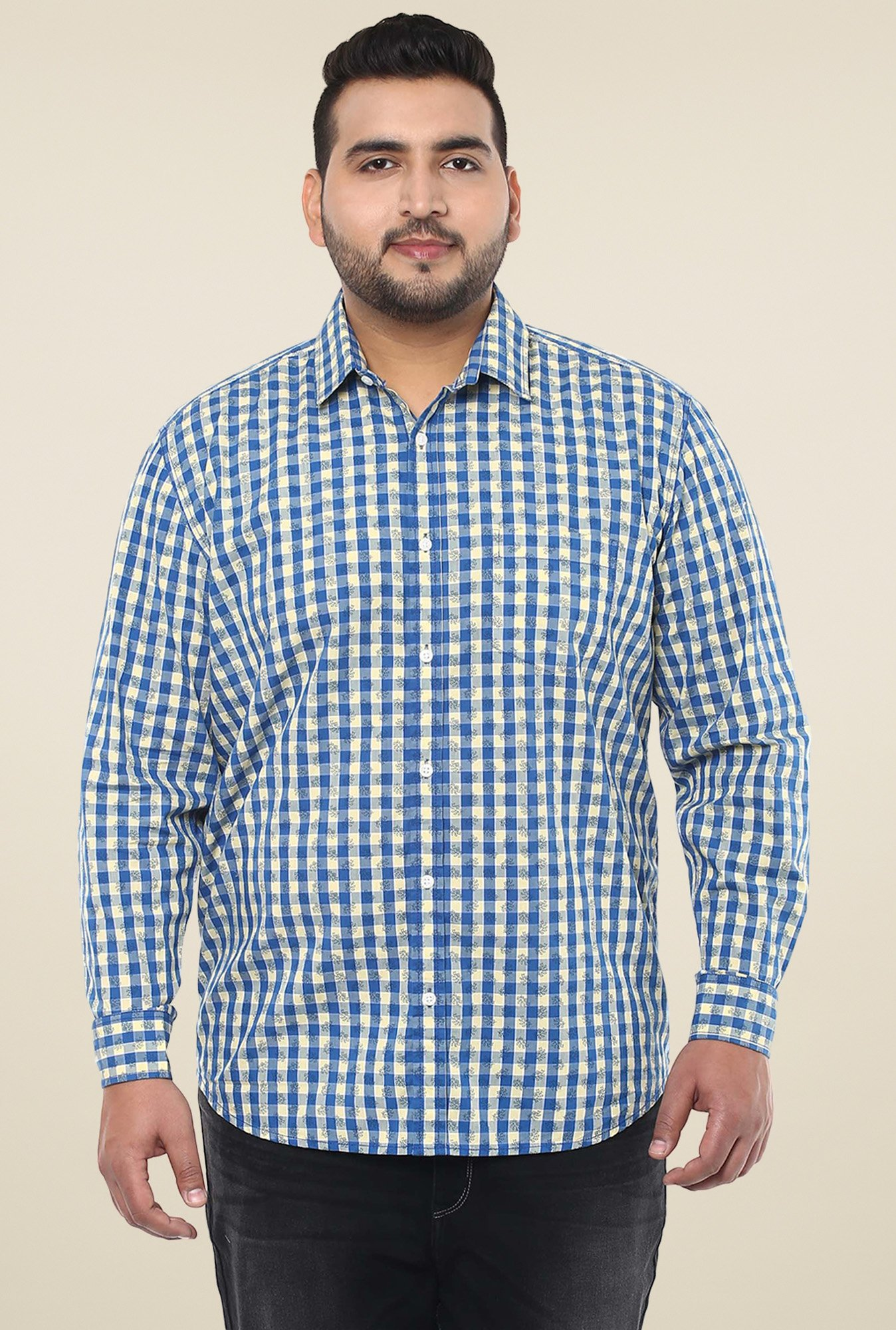 John Pride Blue & Cream Cotton Shirt
