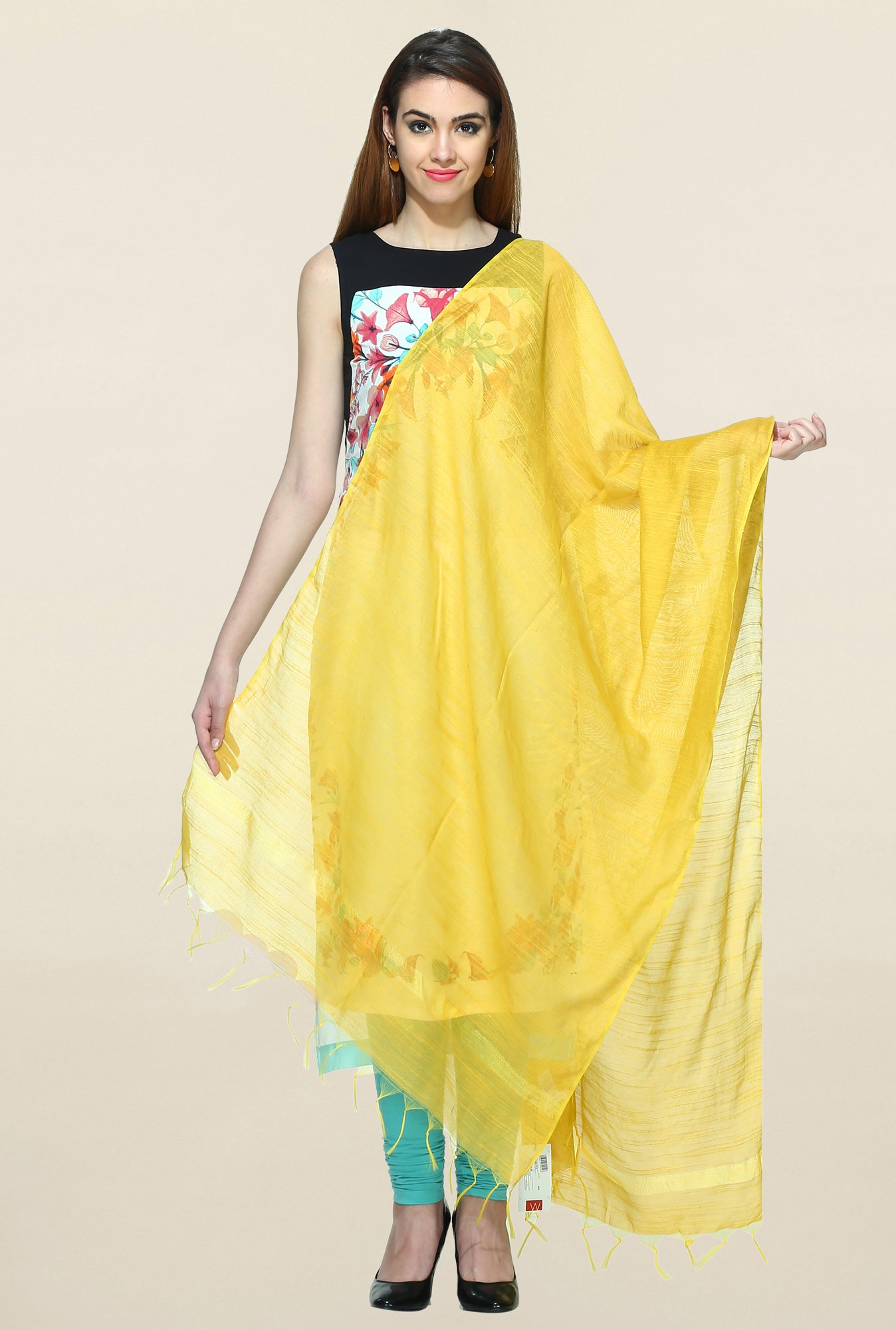 W Yellow Textured Dupatta