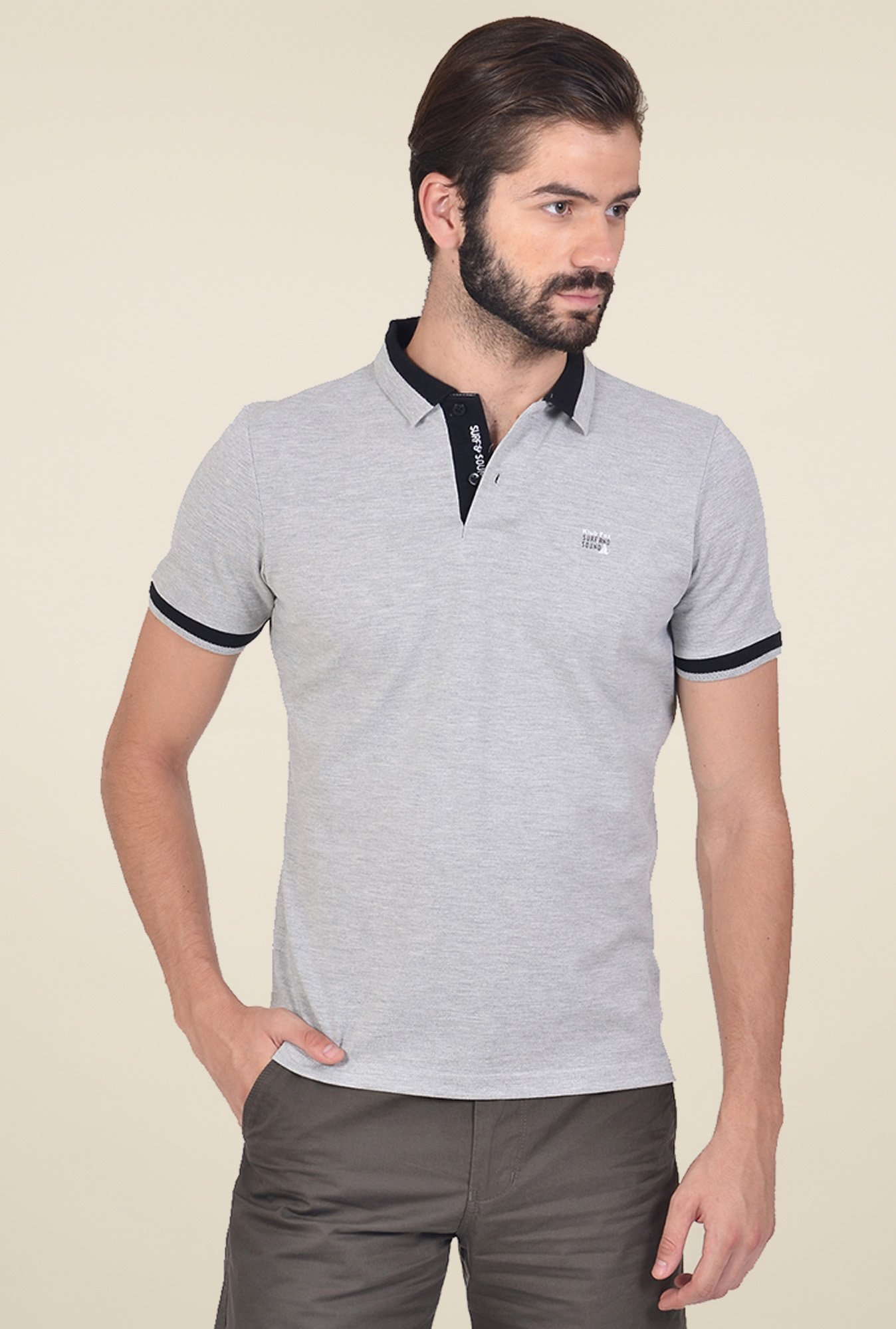 Club Fox Light Grey Cotton Polo T-Shirt