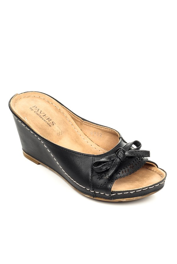 7d86cd73f3ae Buy Pavers England Black Wedge Heeled Sandals for Women at Best ...