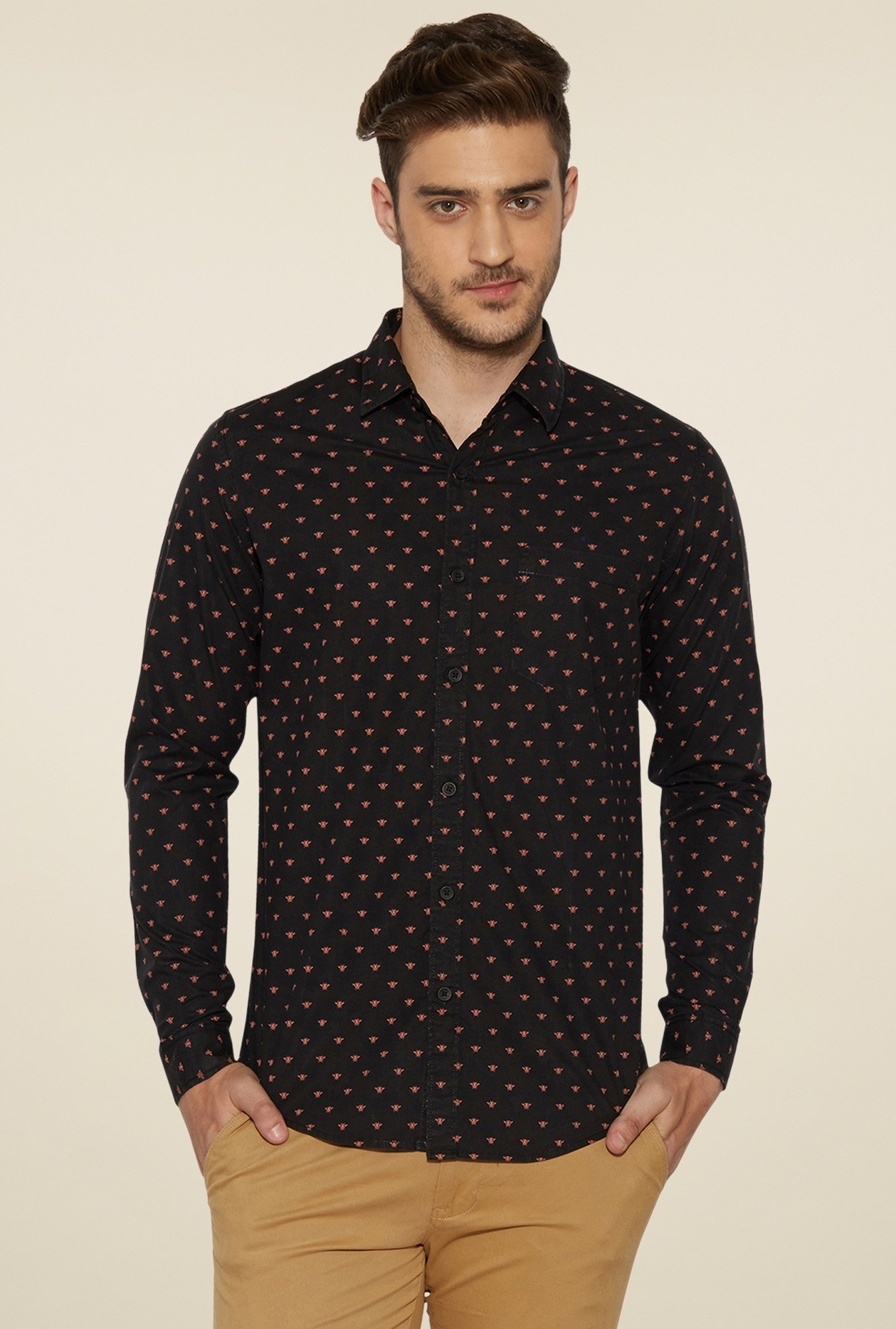 Globus Black Regular Fit Shirt