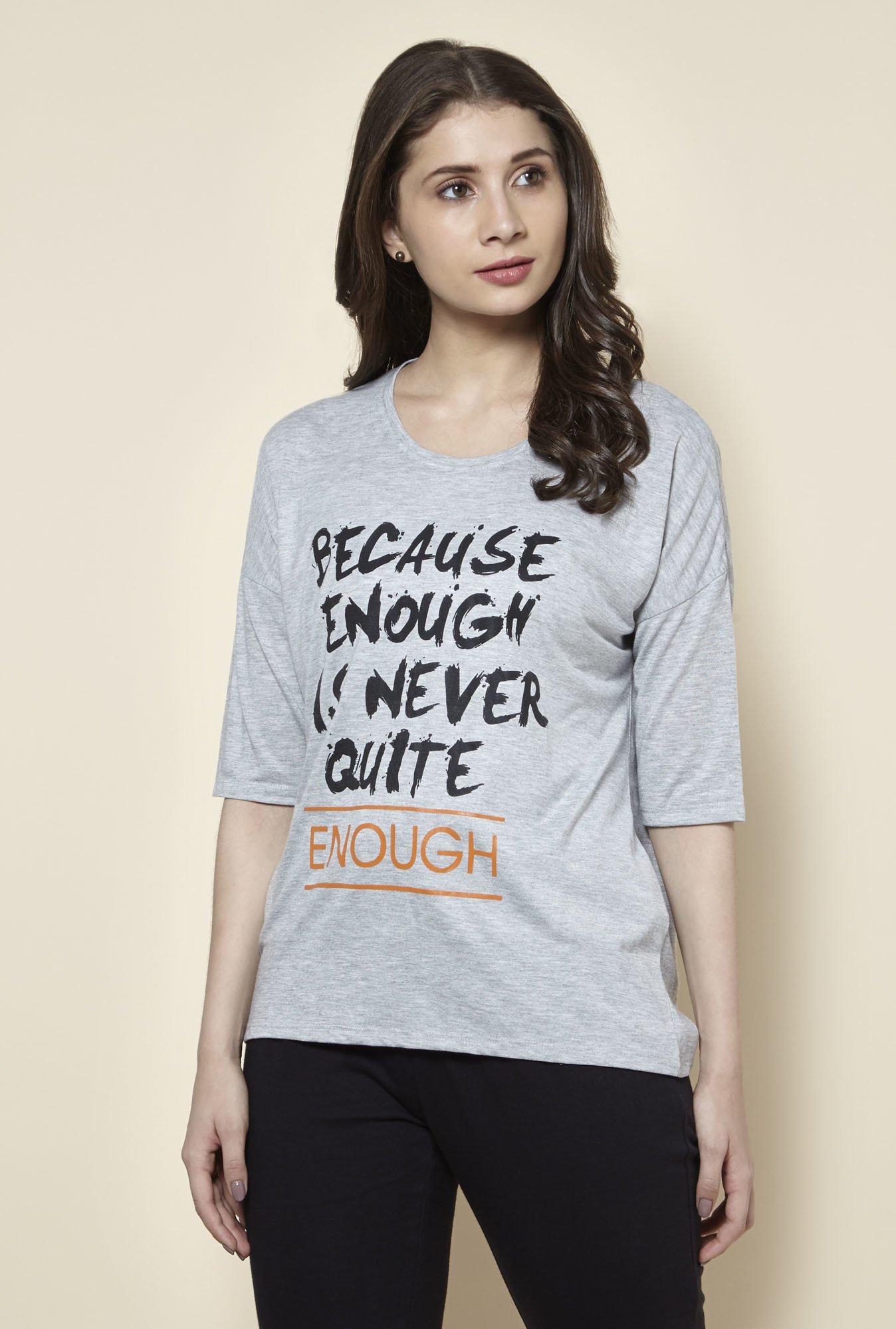 Buy Zudio Grey Oversized T Shirt For Women Online Tata Cliq