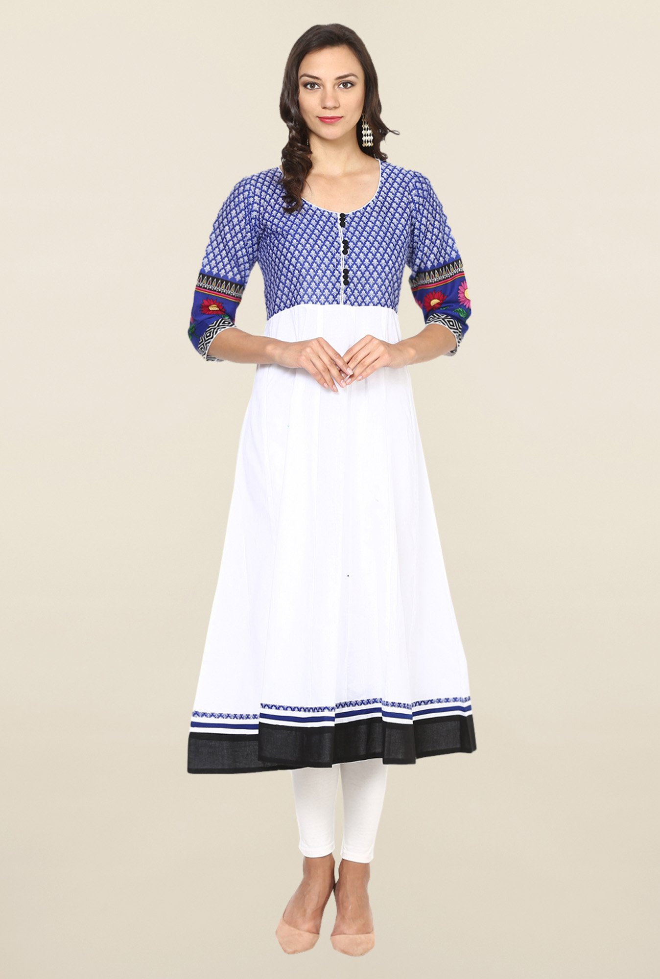 Aujjessa White & Blue Printed Cotton Anarkali Kurta