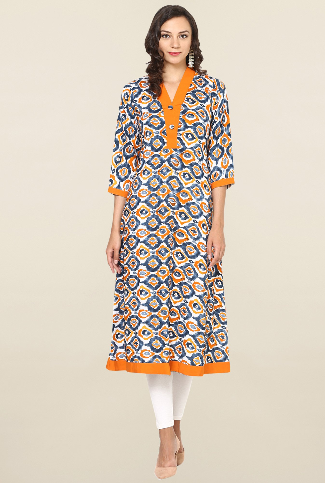 Aujjessa Grey & Orange Printed Rayon A Line Kurta