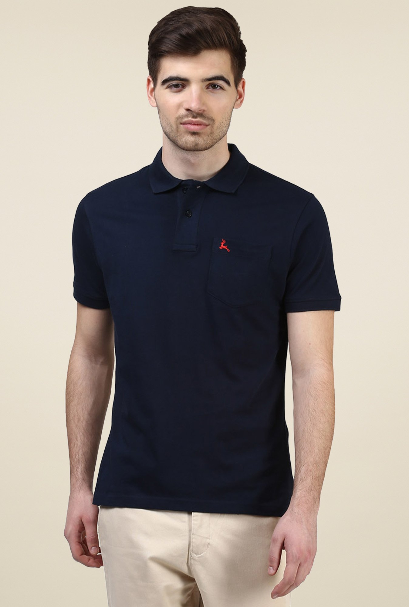 Parx Navy Half Sleeves Cotton Polo T-Shirt