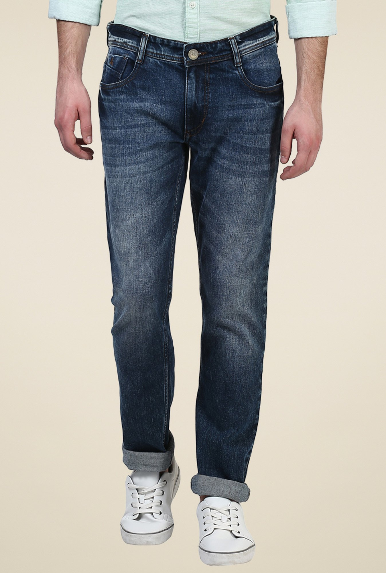 Parx Dark Blue Tapered Fit Mid Rise Jeans