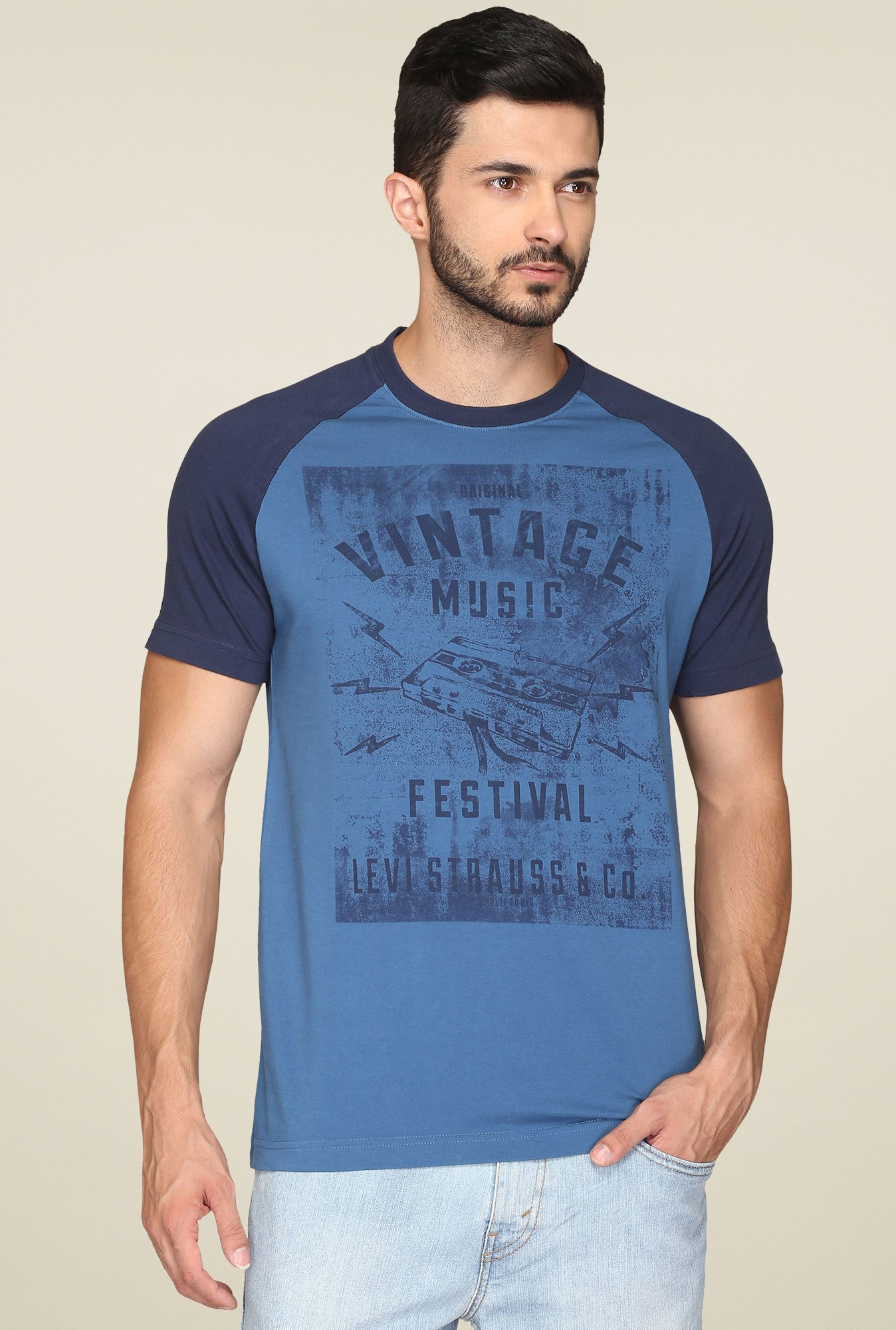 Levi's Blue Regular Fit Cotton T-Shirt