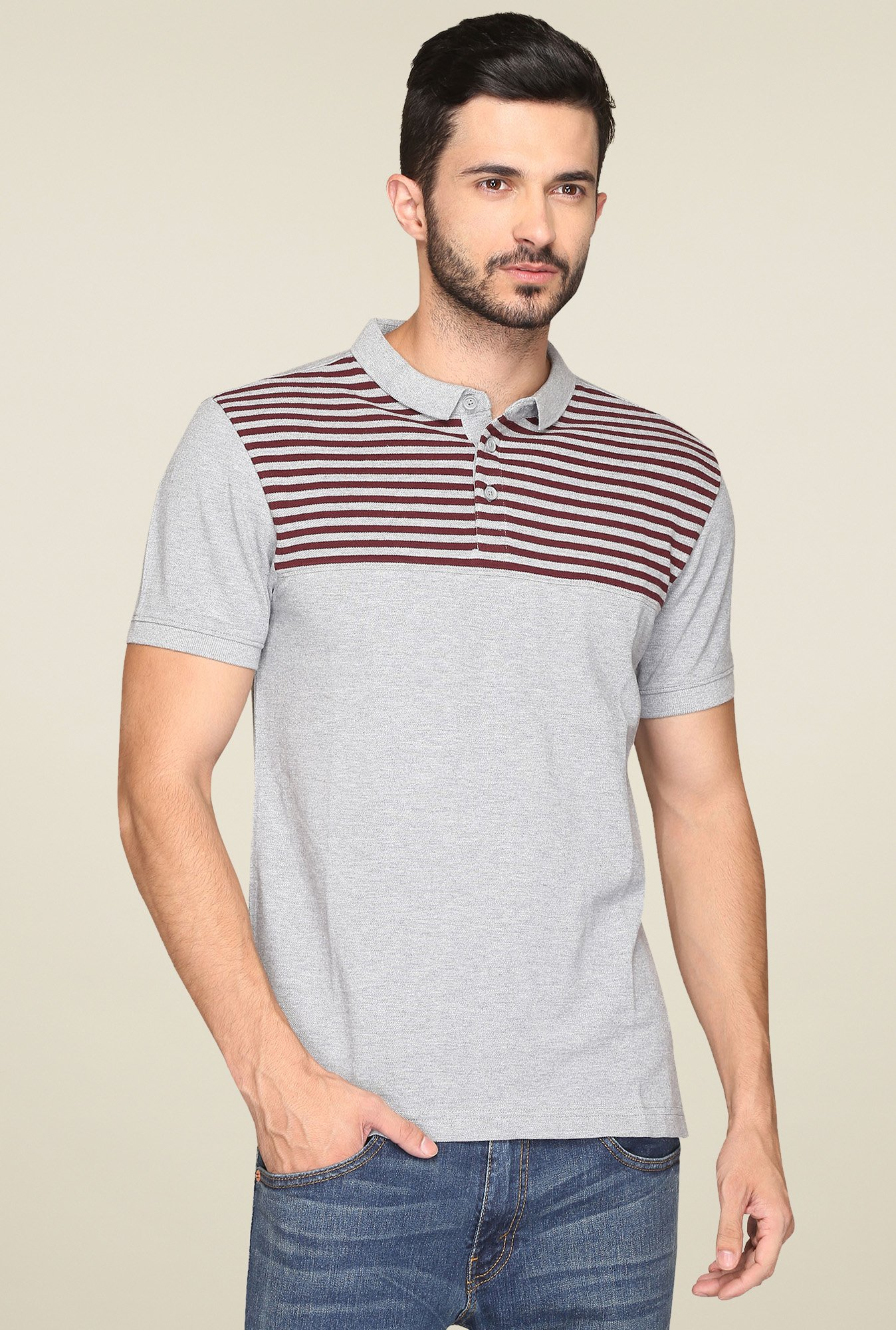 Levi's Light Grey & Maroon Polo T-Shirt