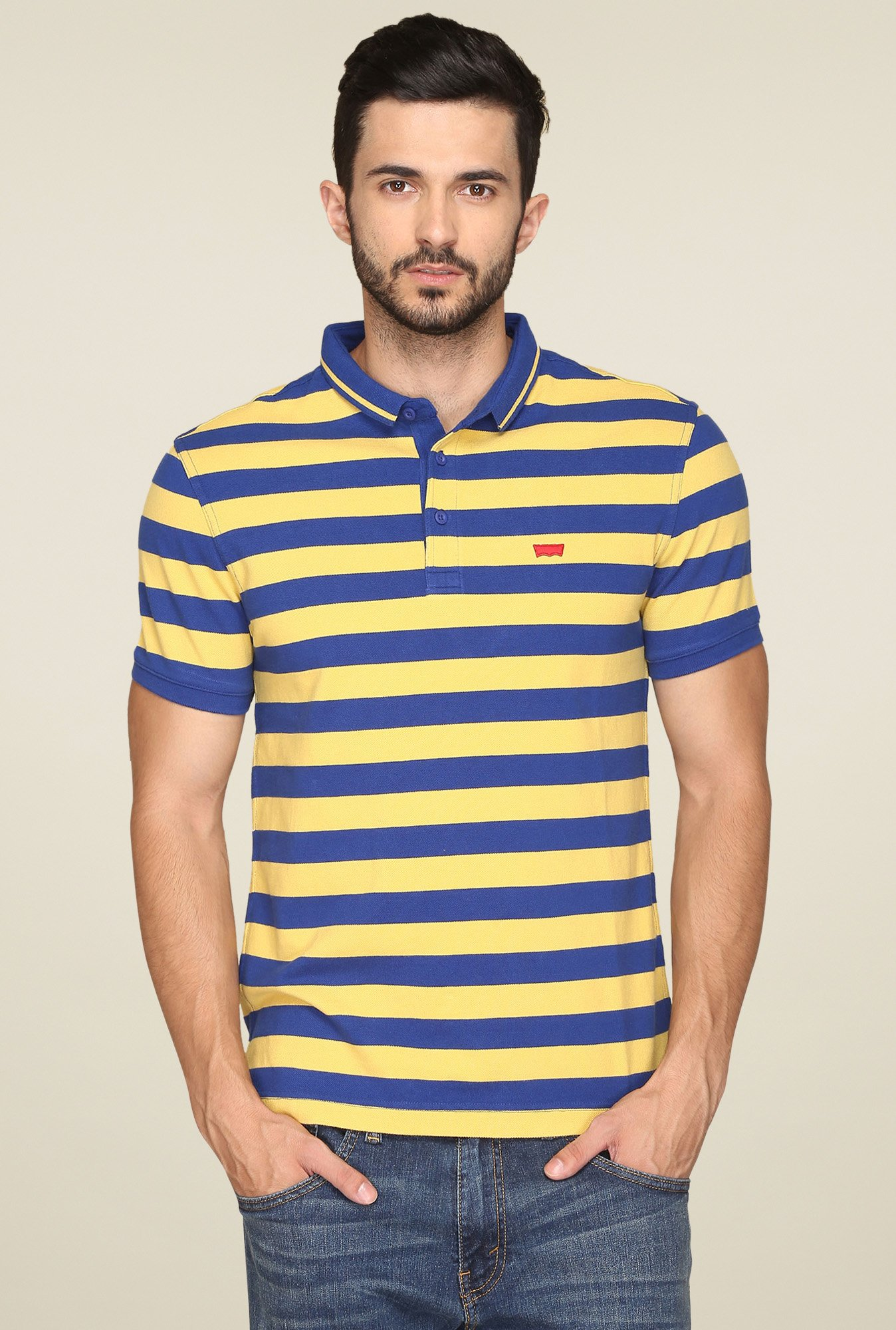 Levi's Yellow & Blue Regular Fit Polo T-Shirt