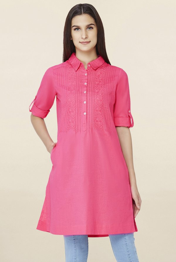 Buy AND Pink Embroidered Tunic for Women Online   Tata CLiQ