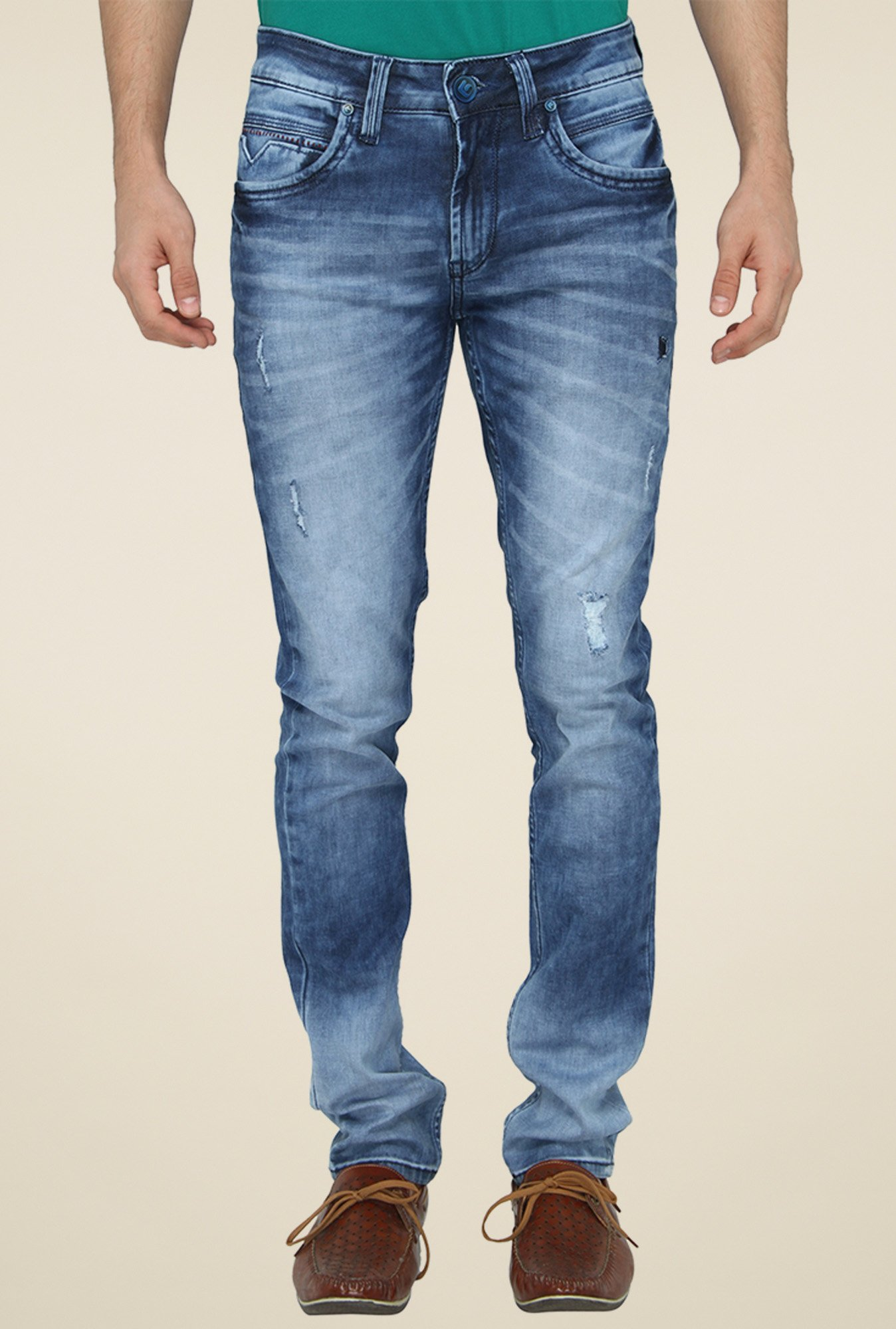 Greenfibre Light Blue Heavily Washed Slim Fit Jeans