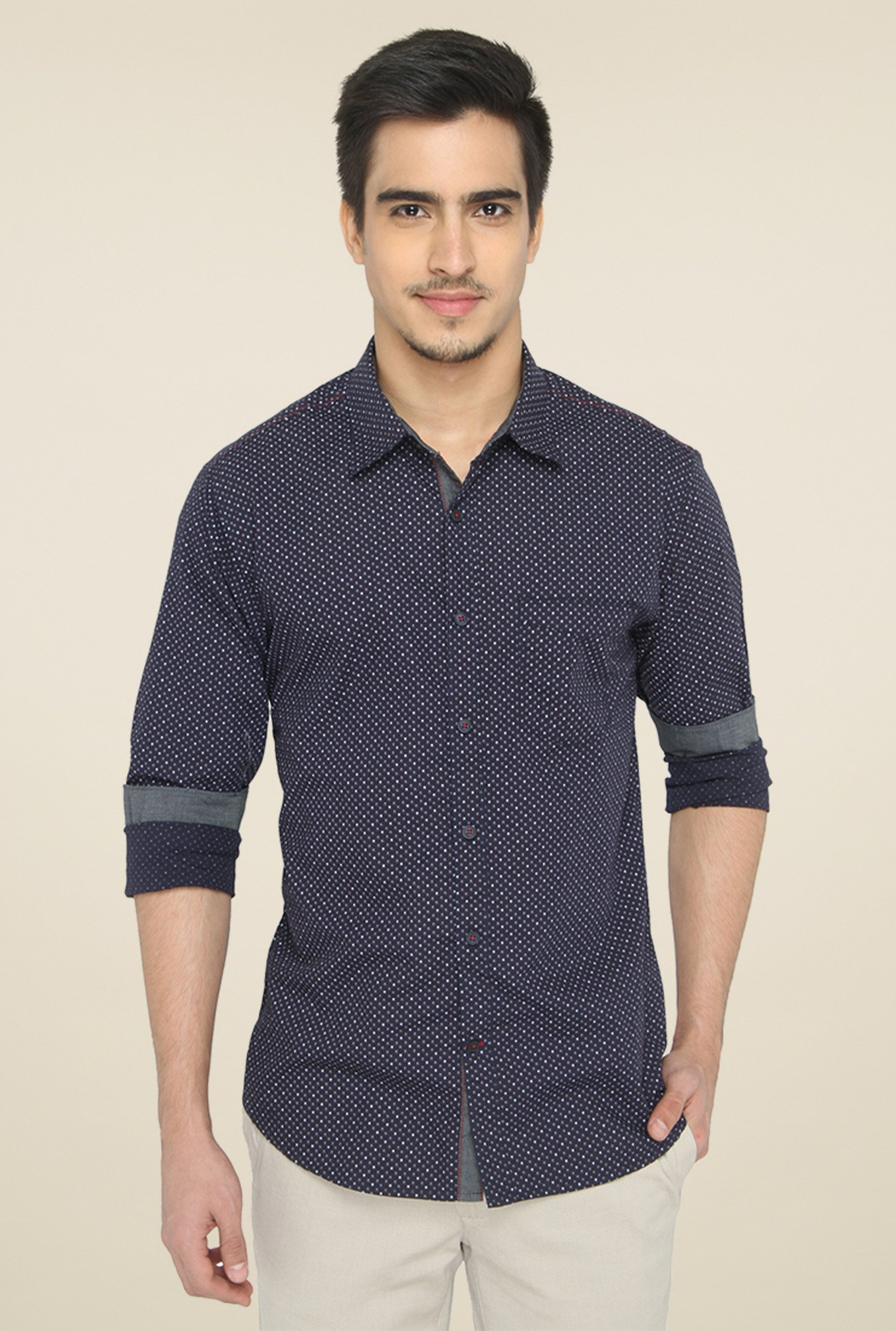 Greenfibre Navy Slim Fit Cotton Shirt