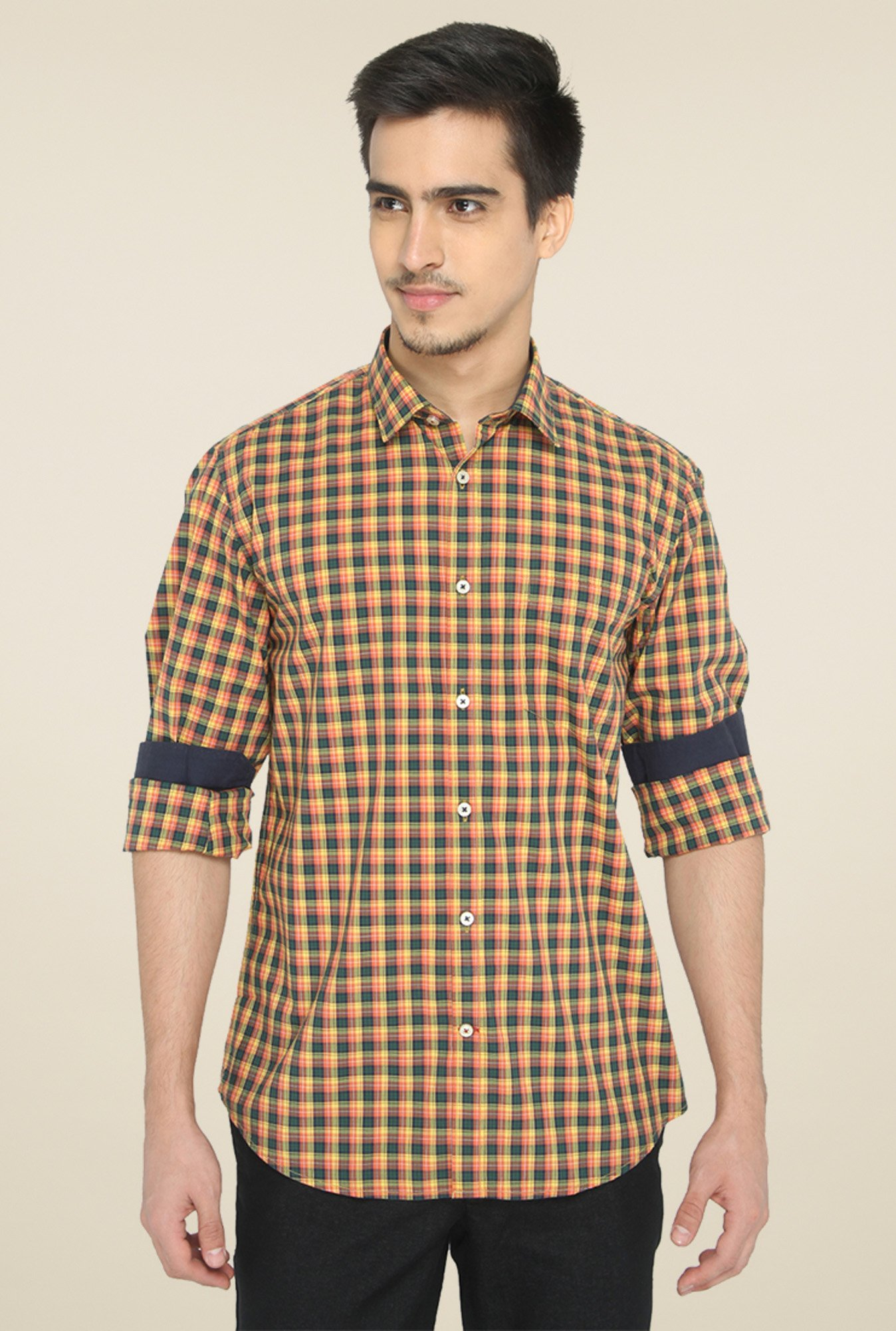 Jadeblue Yellow & Black Regular Fit Shirt