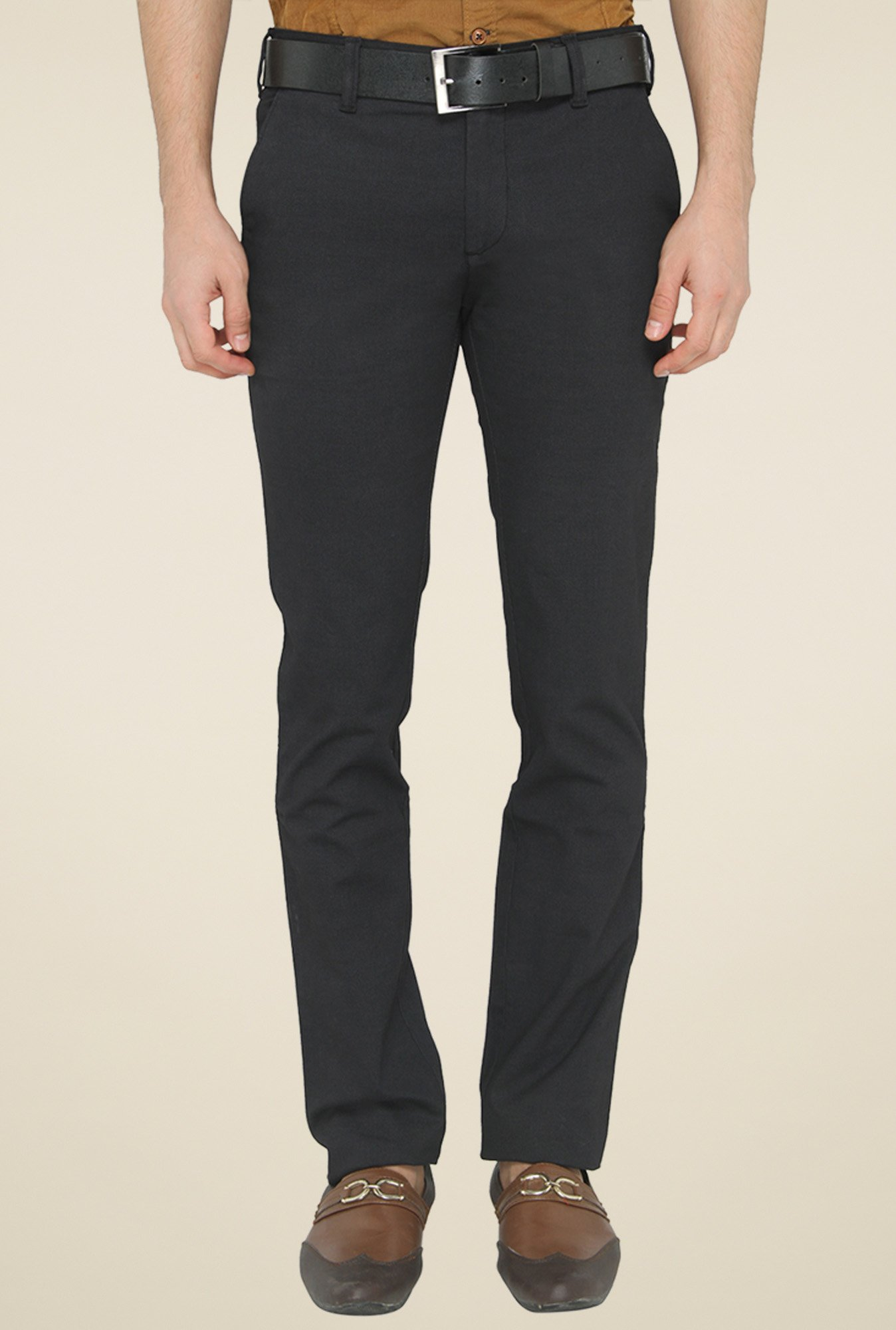Greenfibre Black Slim Fit Mid Rise Chinos